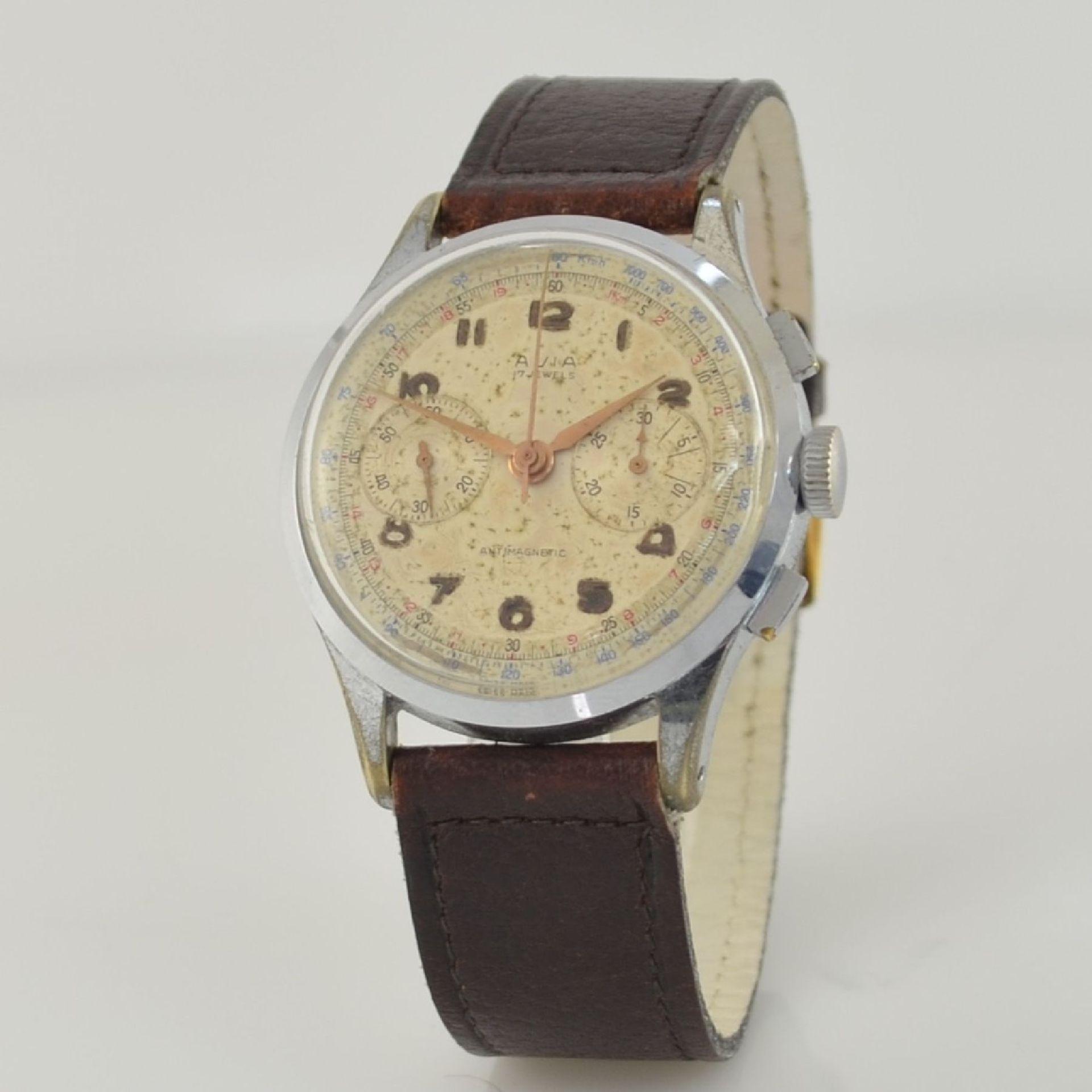 AVIA Armbandchronograph, Handaufzug, Schweiz für den dtsch. Markt um 1940, verchr. Metallgeh. - Bild 3 aus 10