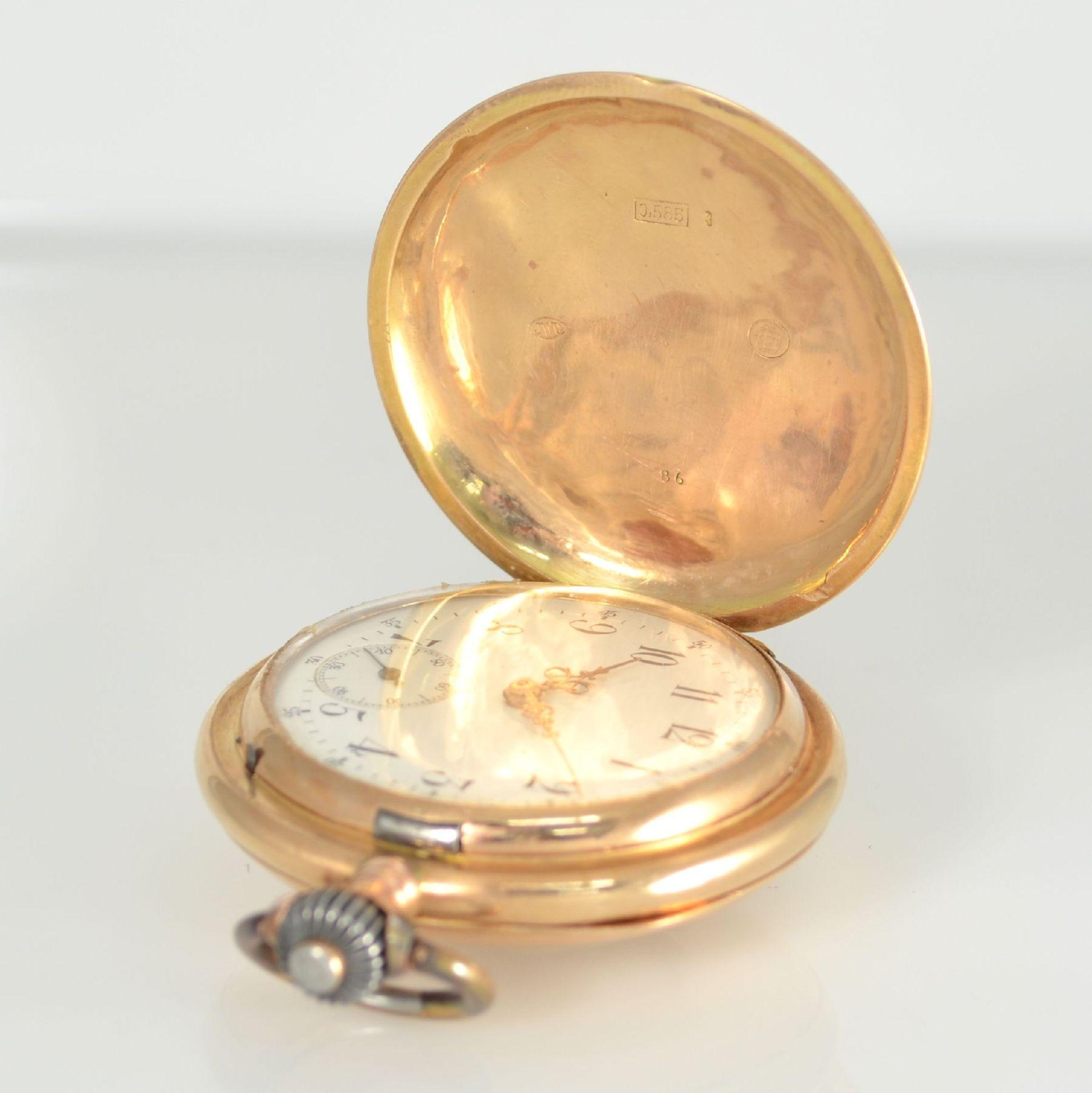 IWC Herrensavonette in RG 585/000, Schweiz um 1894, 2-Deckel Goldgehäuse dell., Emailzifferbl. m. - Bild 3 aus 10