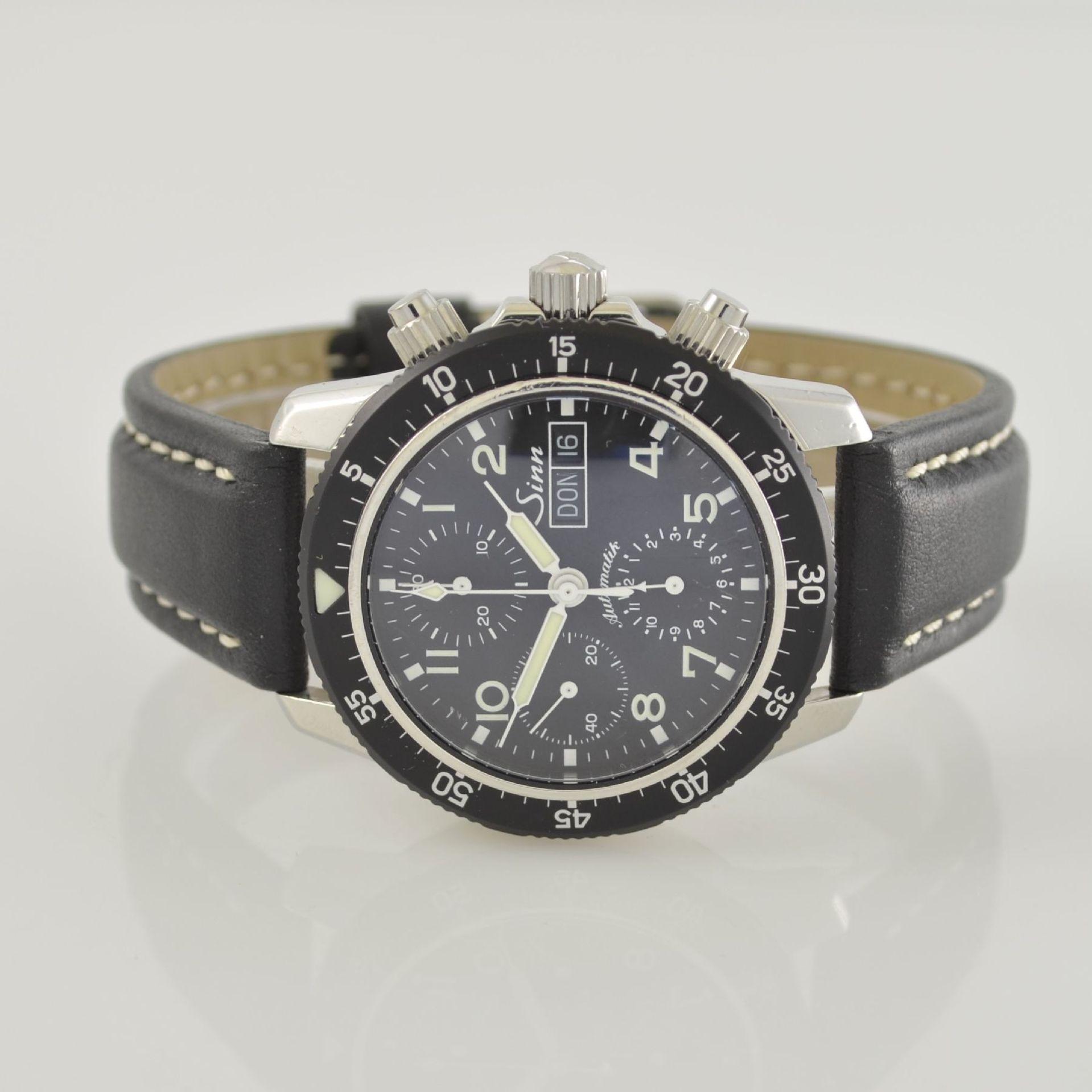 SINN Armbandchronograph, Automatik, Schweiz um 2010, pol. Edelstahlgeh. inkl. orig. Lederband m.