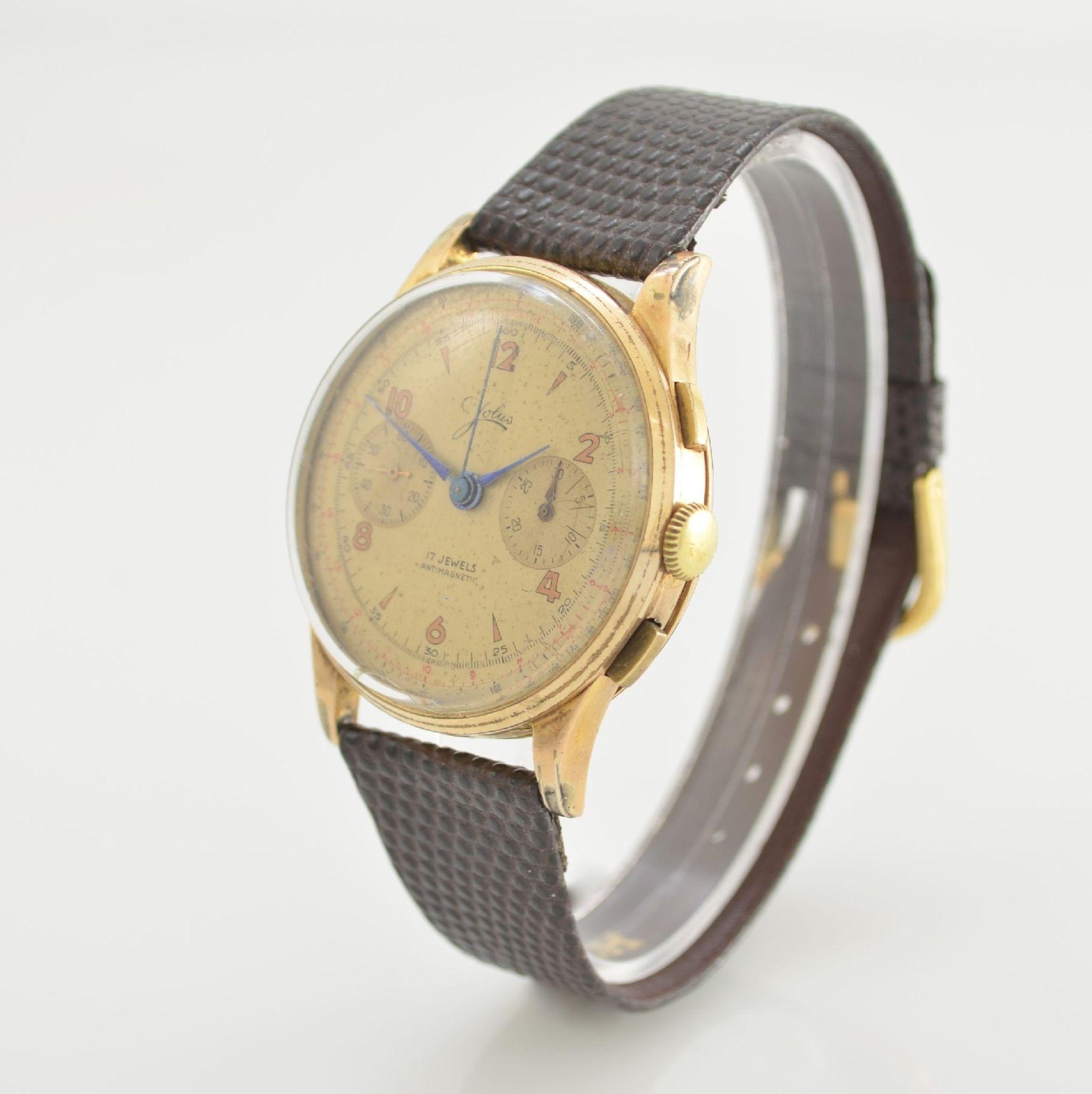 JOLUS Armbandchronograph in RoseG 750/000, Handaufzug, Schweiz um 1948, Boden & verg. Glasrand - Bild 3 aus 8