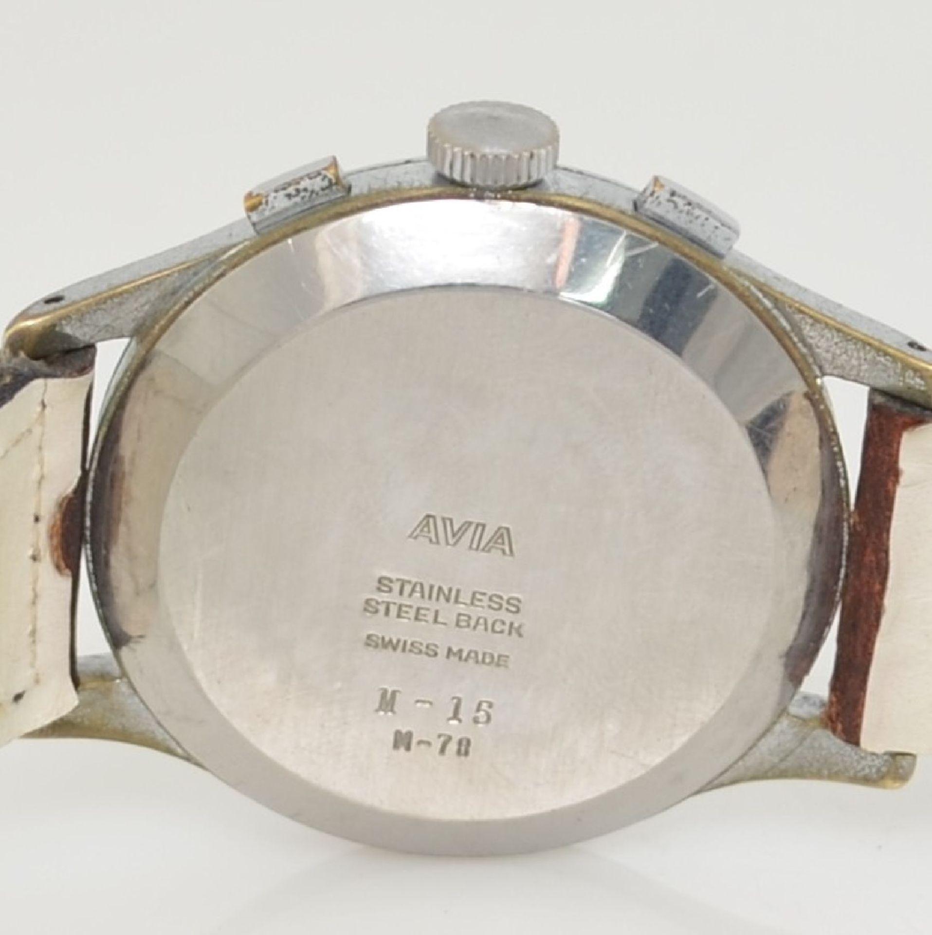 AVIA Armbandchronograph, Handaufzug, Schweiz für den dtsch. Markt um 1940, verchr. Metallgeh. - Bild 6 aus 10