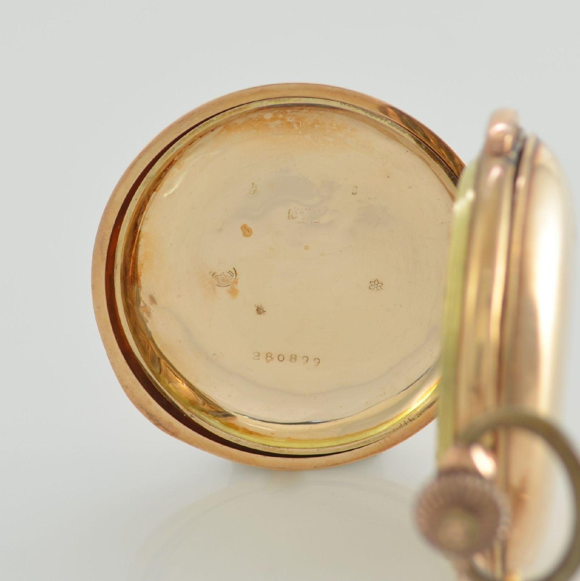 Savonette Herrentaschenuhr in RoseG 585/000 mit 1/4 Stunden Repetition und Chronograph, Schweiz um - Bild 7 aus 9