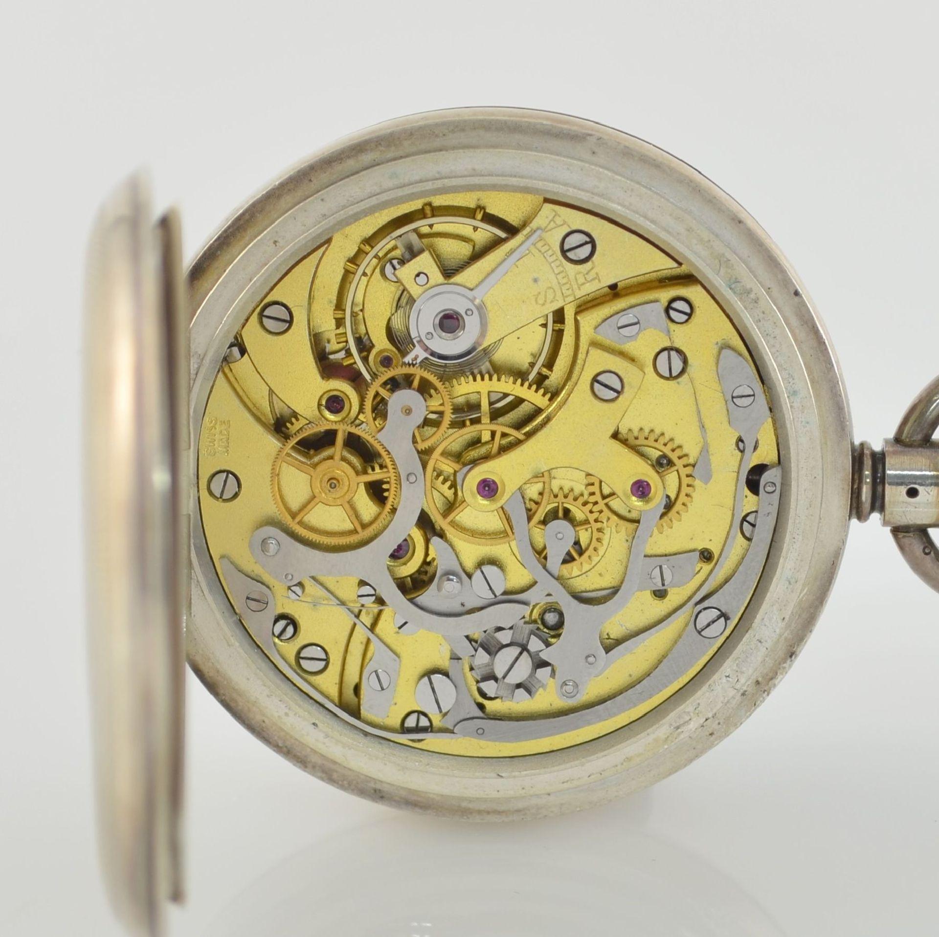 Offene Herrentaschenuhr mit Chronograph in Sterlingsilber, Schweiz um 1910, guill. Geh., aufgedr. - Bild 6 aus 7