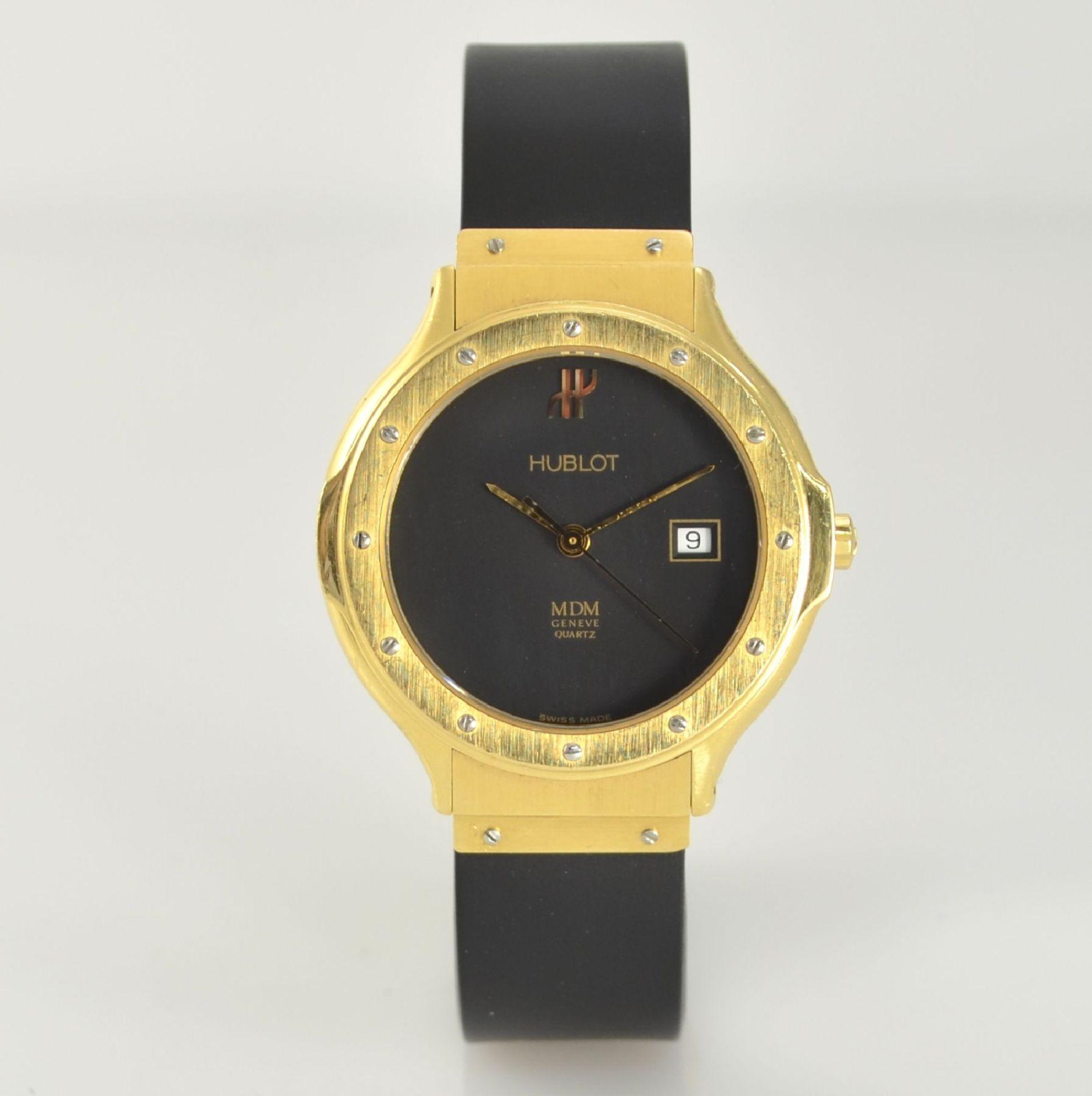 HUBLOT MDM Armbanduhr in GG 750/000, Schweiz um 1995, quarz, Ref. 140.10.3, massives Goldgeh., Boden - Bild 3 aus 7