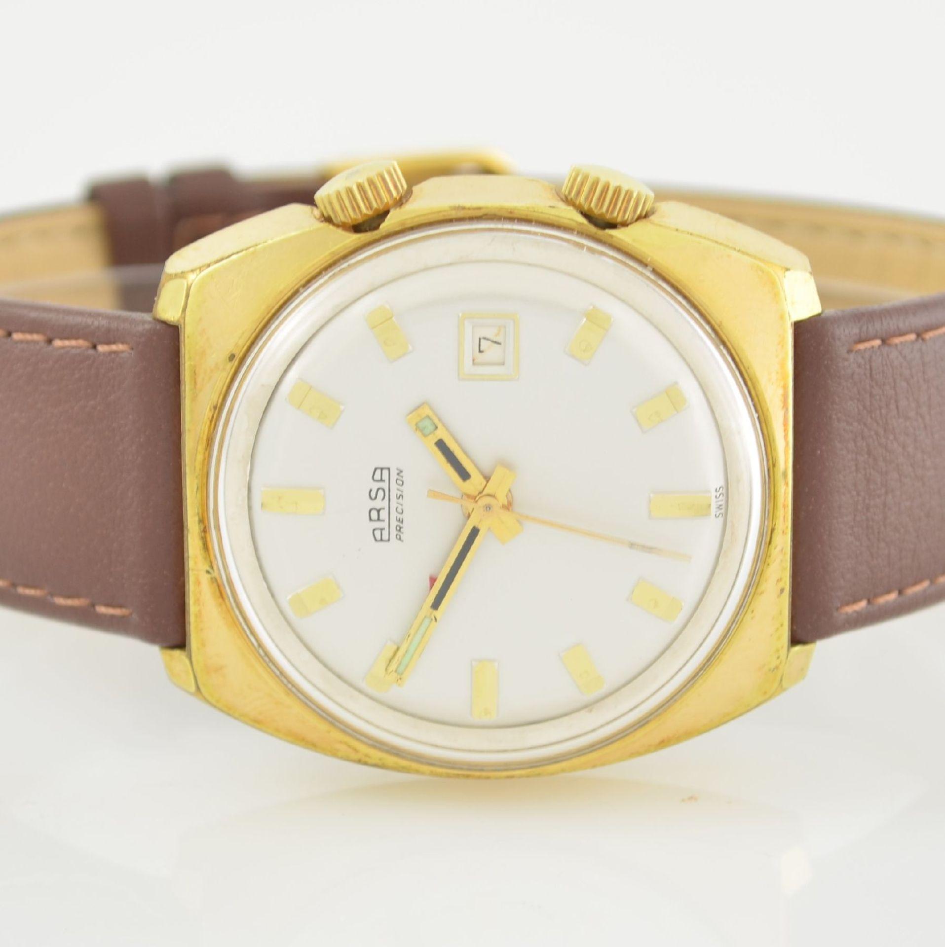 Konvolut: 2 Armbanduhren, beide Schweiz um 1970, beide Metall verg., 1 x Arsa Armbandwecker, Boden - Bild 2 aus 12
