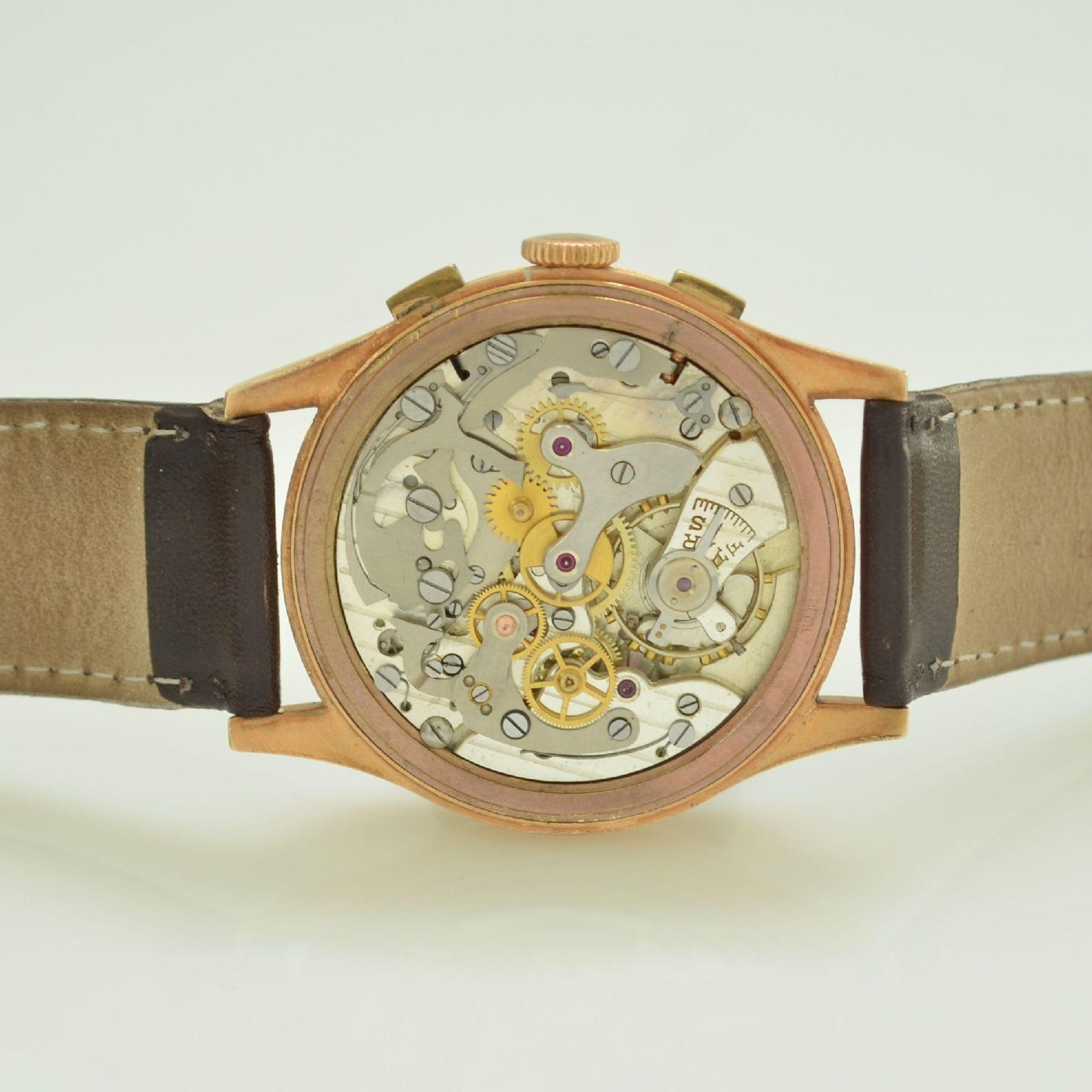 Herrenarmbanduhr mit Chronograph in 750/000 RoseG, Schweiz um 1950, Boden & Glasrand aufgedr., rest. - Bild 9 aus 9
