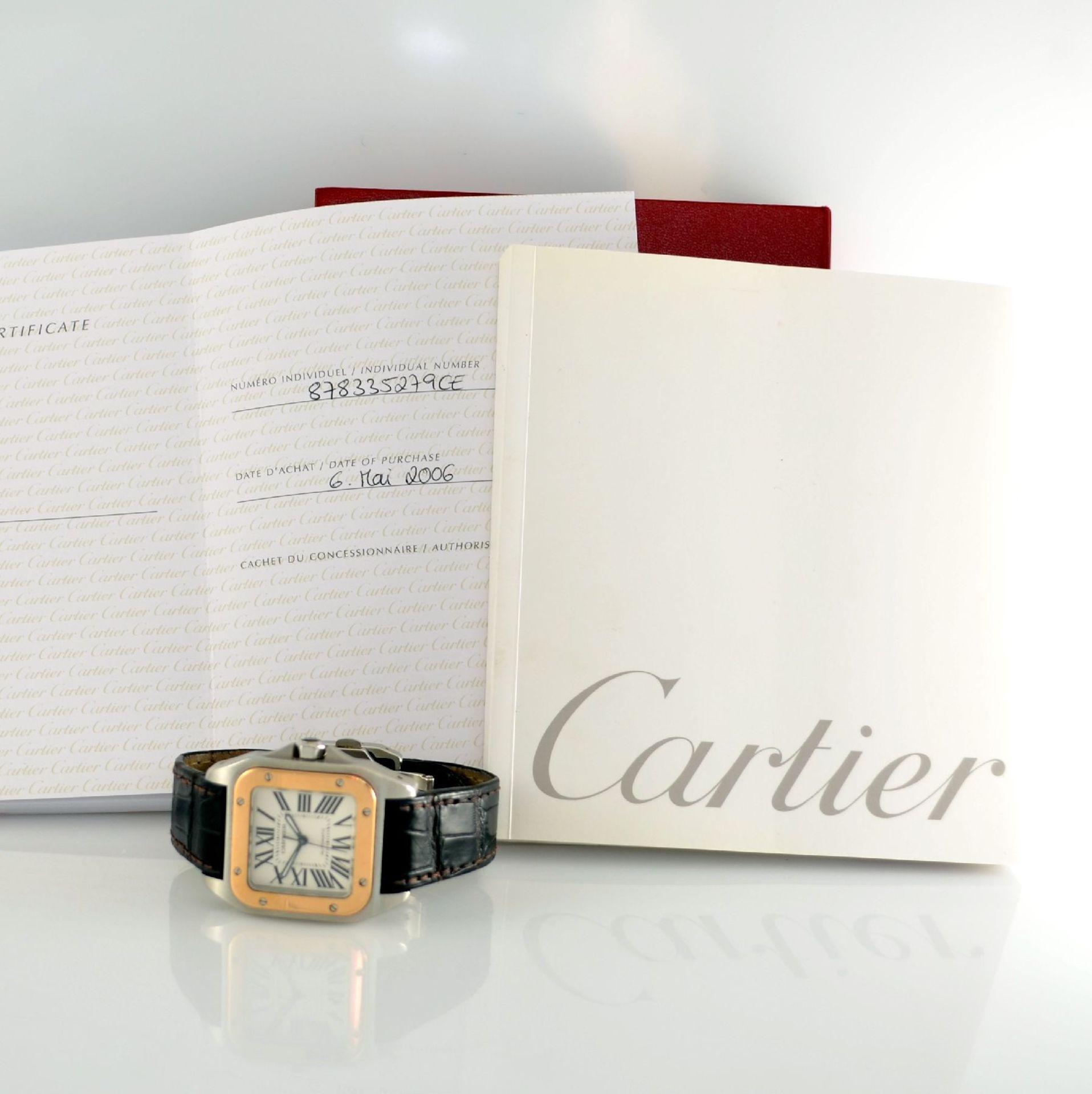 CARTIER Santos 100 Armbanduhr in Edelstahl & RoseG 750/000, Schweiz um 2006, Automatik, Boden 8-fach - Bild 7 aus 7