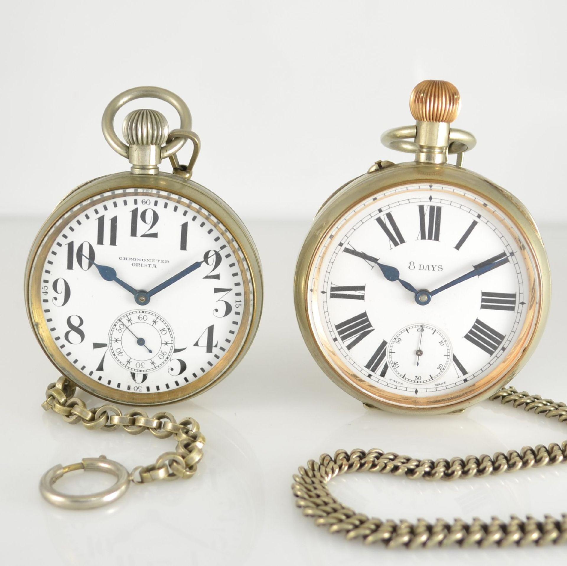 Konvolut: 2 große Herrentaschenuhren, Schweiz um 1900, beide Nickelgehäuse, mit Emailzifferbl. &