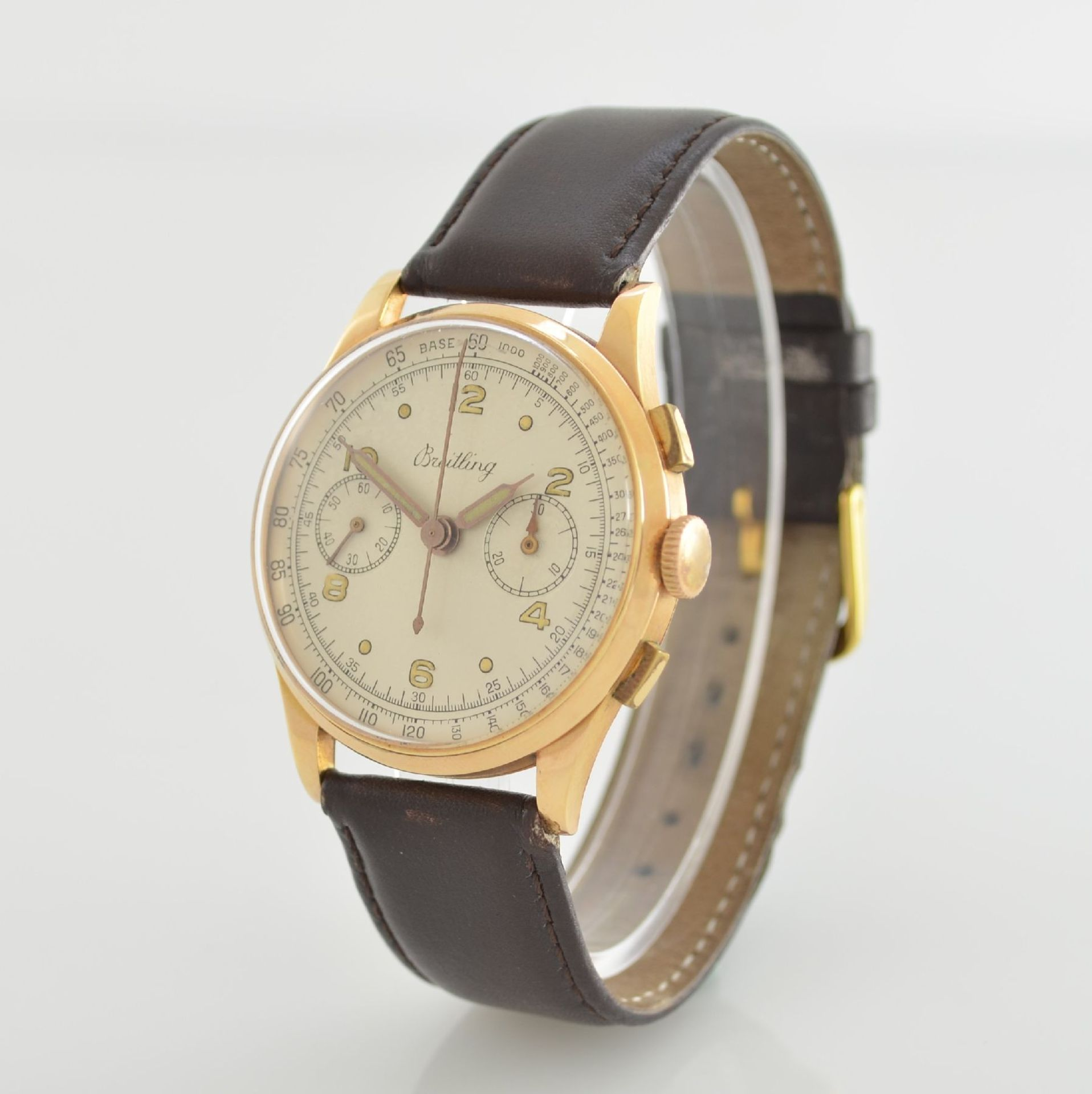 Herrenarmbanduhr mit Chronograph in 750/000 RoseG, Schweiz um 1950, Boden & Glasrand aufgedr., rest. - Bild 3 aus 9