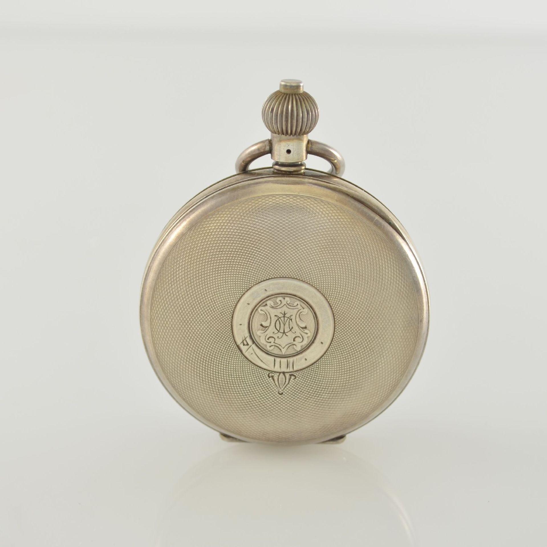 Offene Herrentaschenuhr mit Chronograph in Sterlingsilber, Schweiz um 1910, guill. Geh., aufgedr. - Bild 7 aus 7