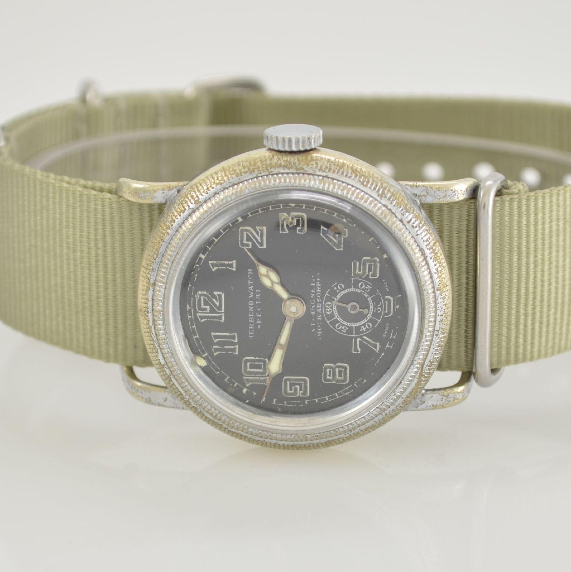 MERBEND WATCH Spezial Antimagnetic Schockabsorber Armbanduhr im Fliegerdesign, Schweiz um 1935, - Bild 2 aus 6
