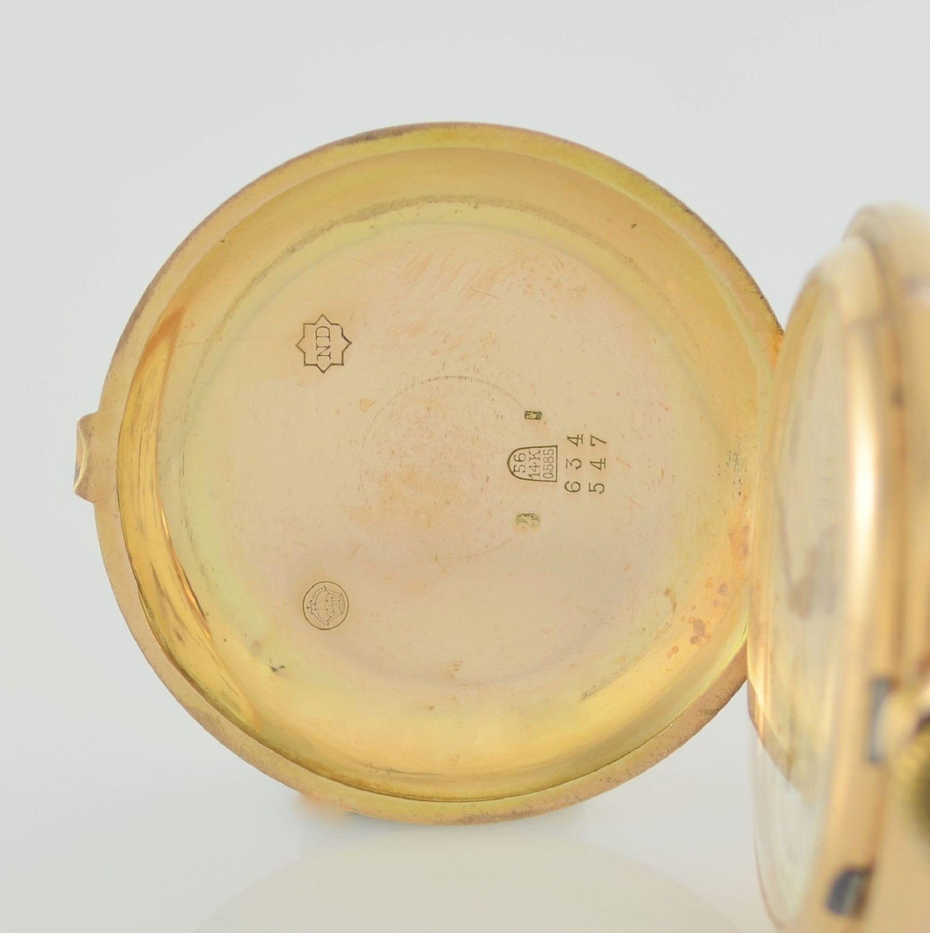 Herrensavonette in RG 585/000, Schweiz um 1900, guill. 3-Deckel-Goldgeh. dell. m. à- goutte- - Bild 3 aus 7
