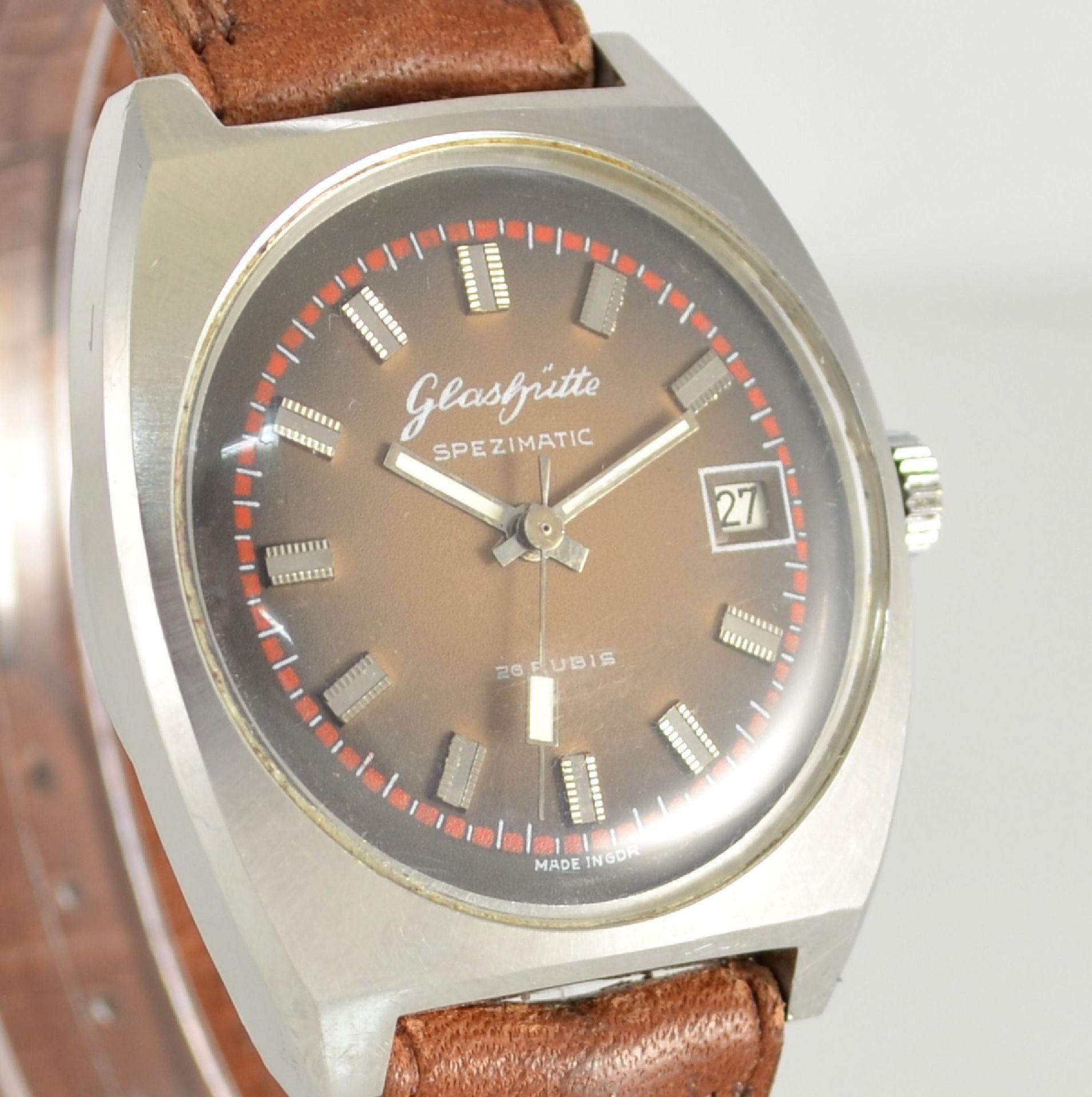 GLASHÜTTE Armbanduhr Spezimatic in Edelstahl, Automatik, DDR um 1970, Boden aufgedr., ausgef. - Bild 4 aus 5