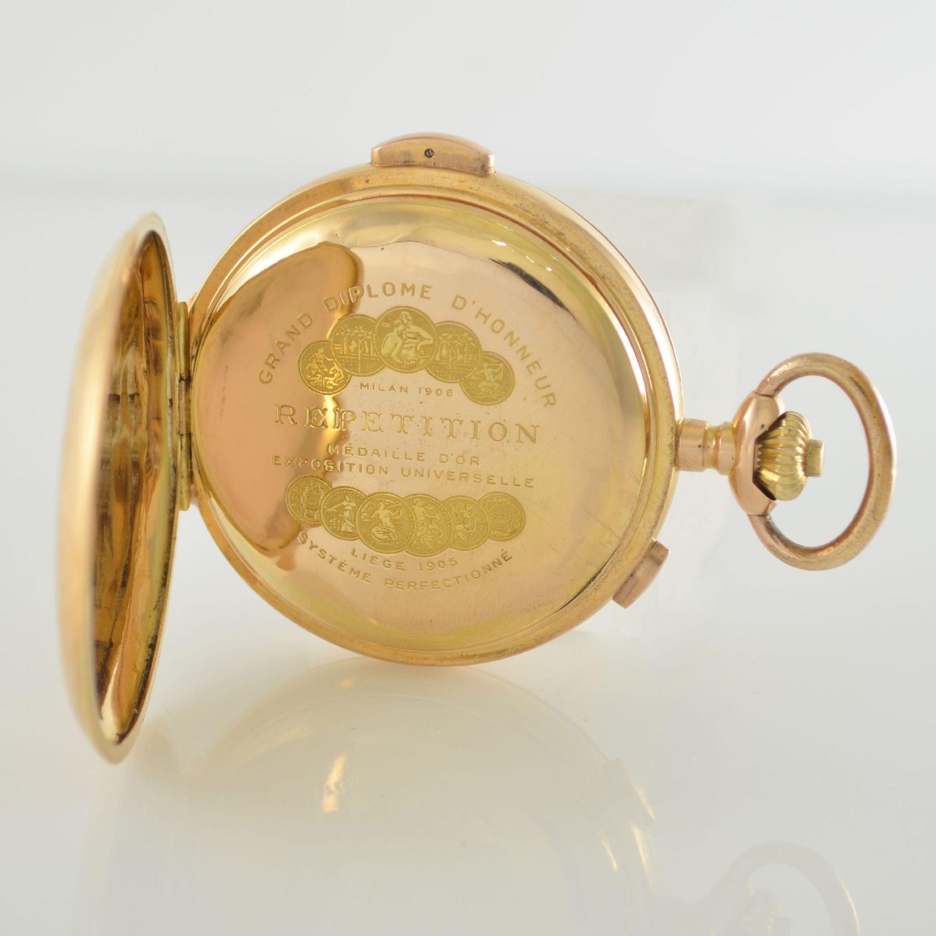 Herrensavonette mit 1/4 Std.-Repetition & Chronograph in RG 750/000, Schweiz um 1910, glattes 3- - Bild 4 aus 6