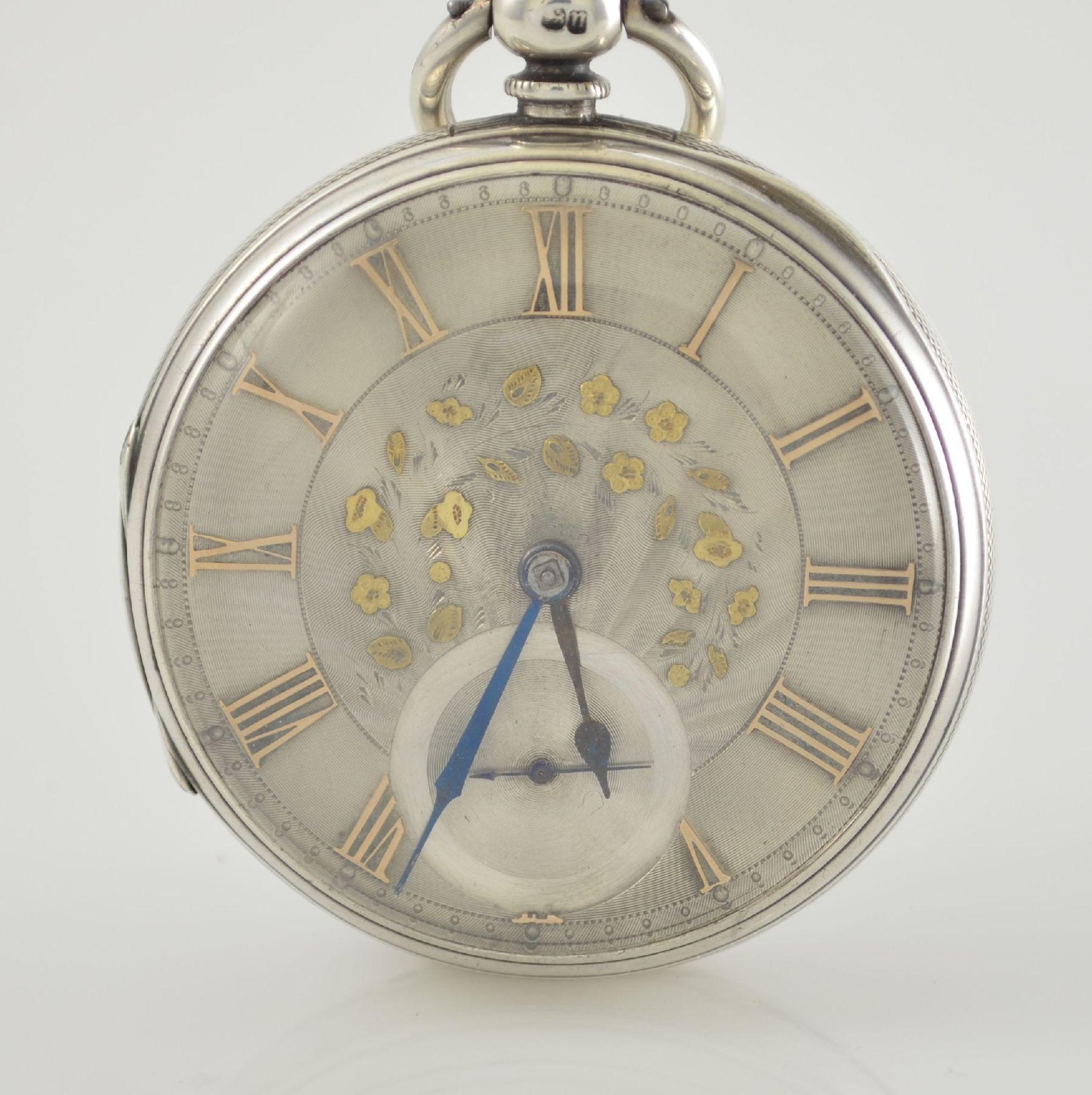 STORY & SEDMAN englische Taschenuhr in Silber, um 1870, 3-teil. Gehäuse innen m. Widmung, - Bild 2 aus 8