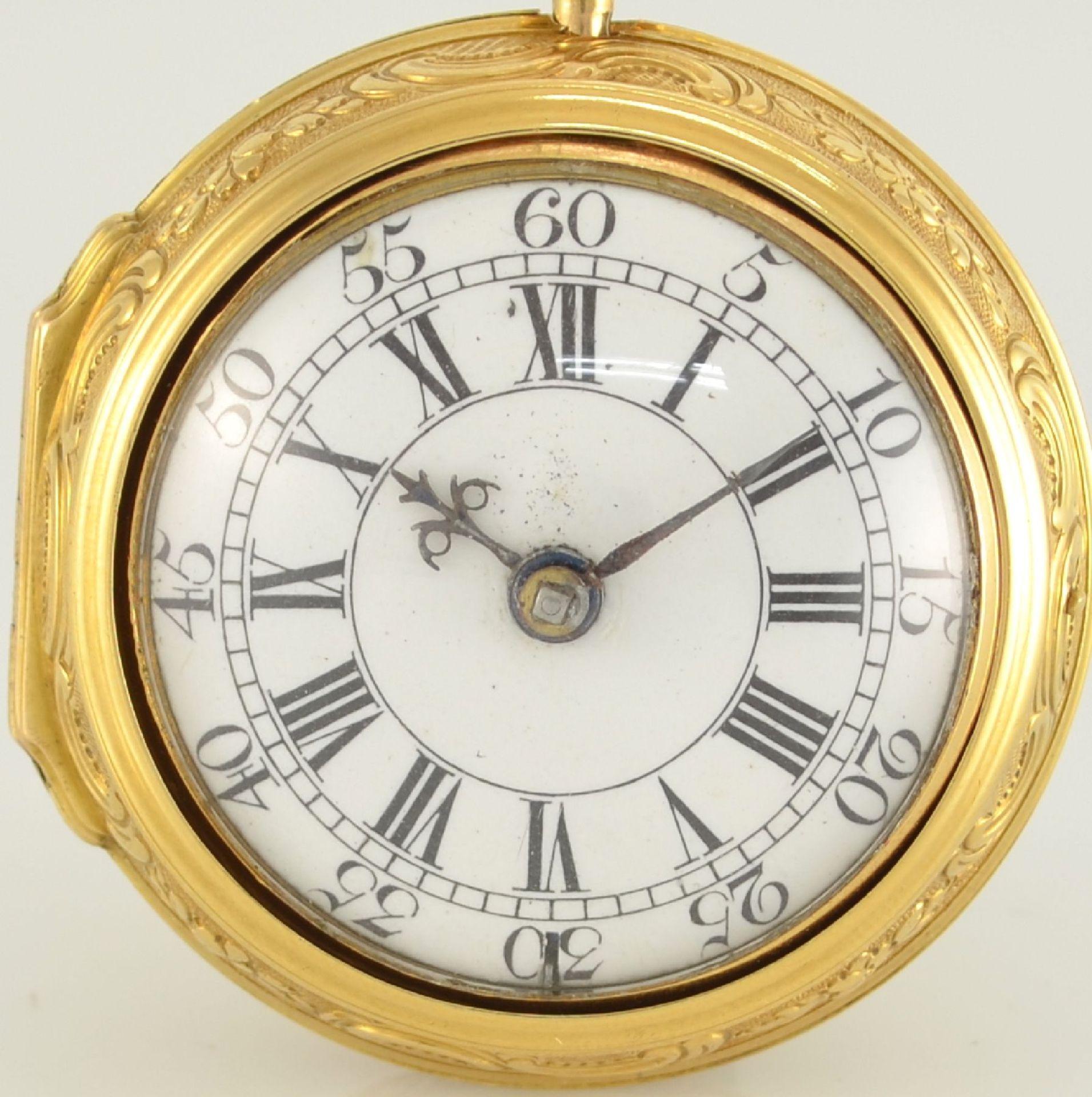 J. SNELLING London offene Taschenuhr in GG 750/000 mit Repoussée-Übergehäuse, um 1740, - Bild 2 aus 10