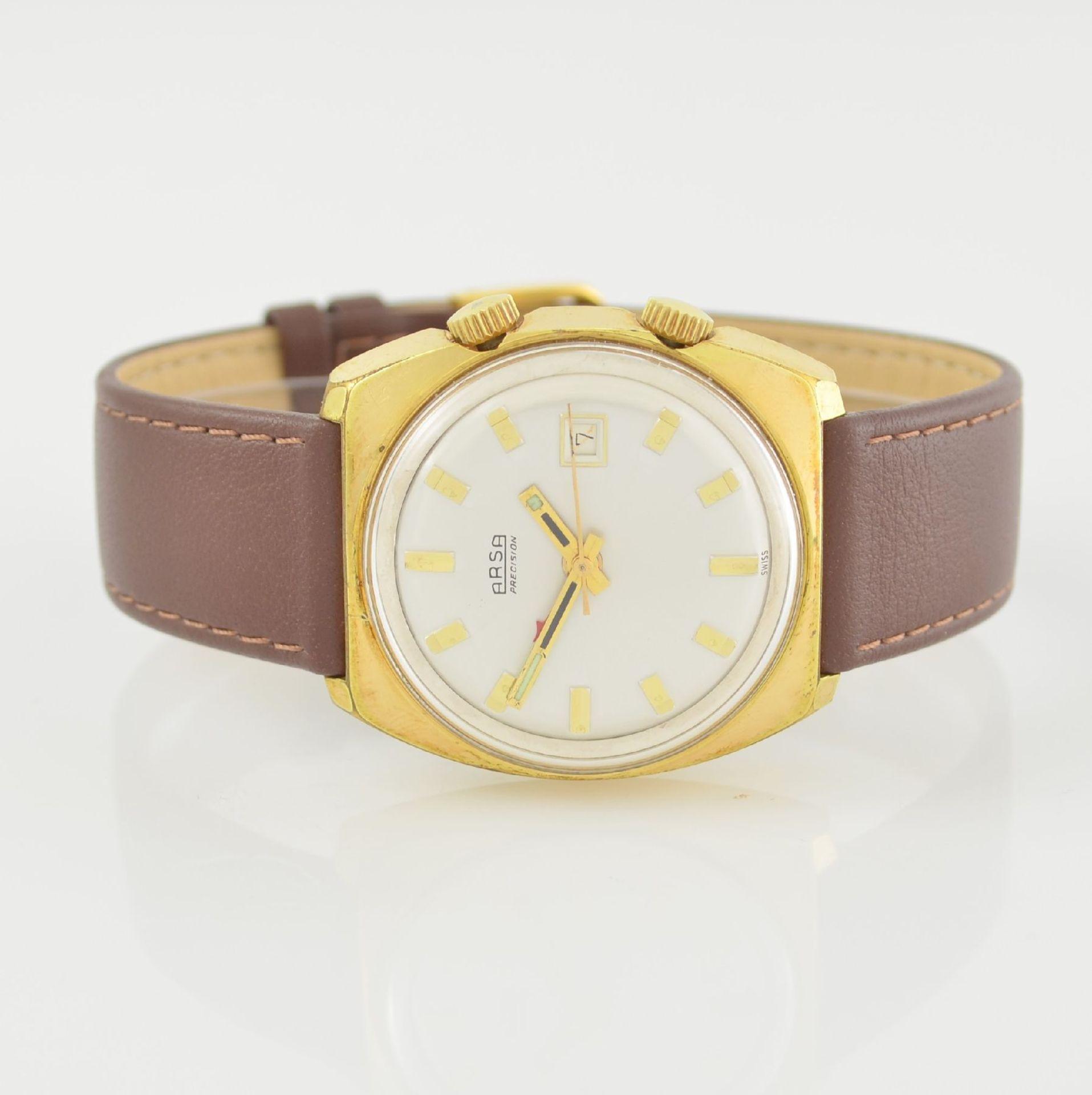 Konvolut: 2 Armbanduhren, beide Schweiz um 1970, beide Metall verg., 1 x Arsa Armbandwecker, Boden