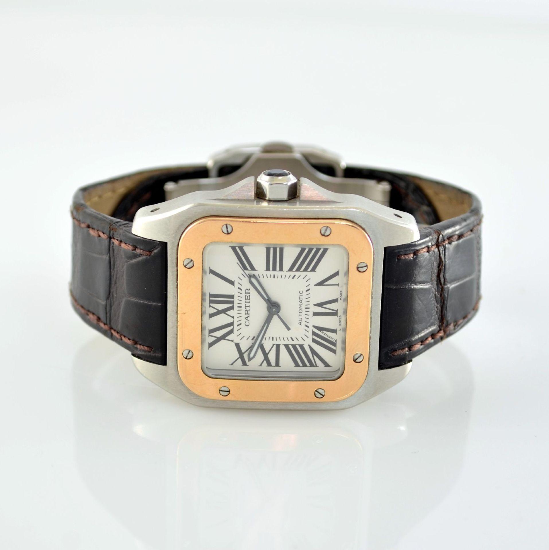CARTIER Santos 100 Armbanduhr in Edelstahl & RoseG 750/000, Schweiz um 2006, Automatik, Boden 8-fach