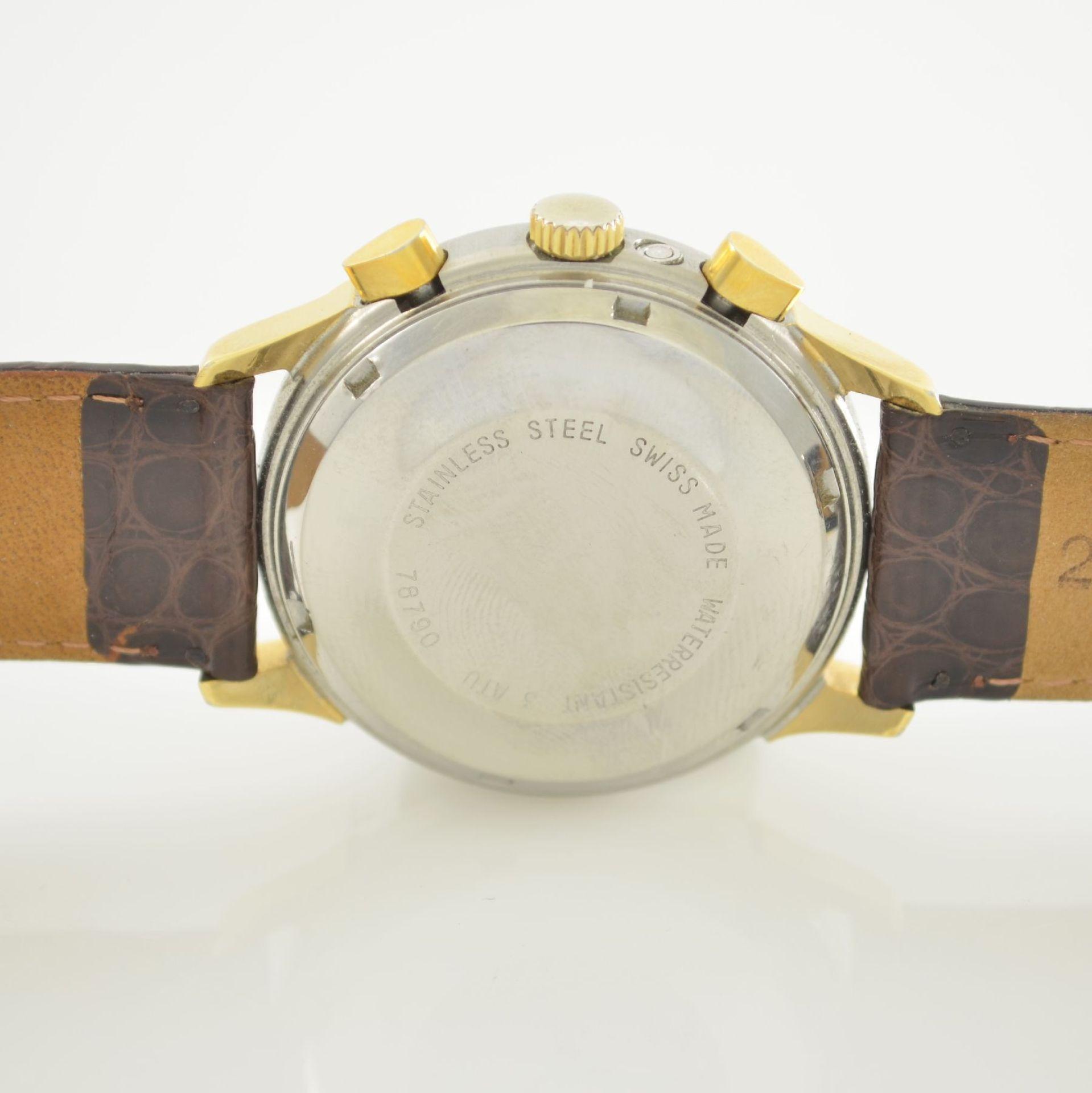 ALPINA Armbandchronograph mit Mondphase & Datum, Schweiz um 1990, Gehäuse in Edelstahl/Gold, Boden - Bild 6 aus 7