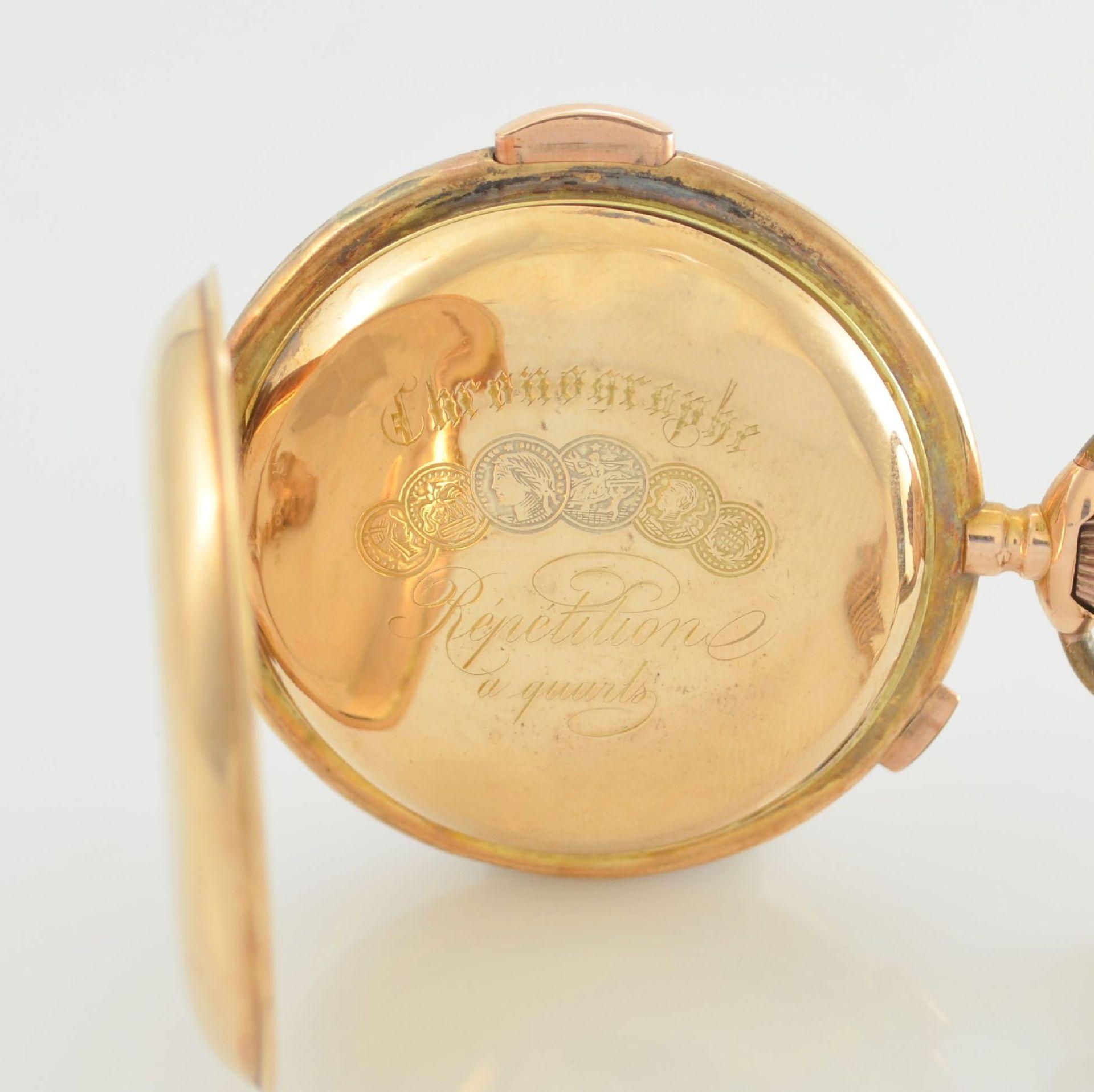 Savonette Herrentaschenuhr in RoseG 585/000 mit 1/4 Stunden Repetition und Chronograph, Schweiz um - Bild 6 aus 9