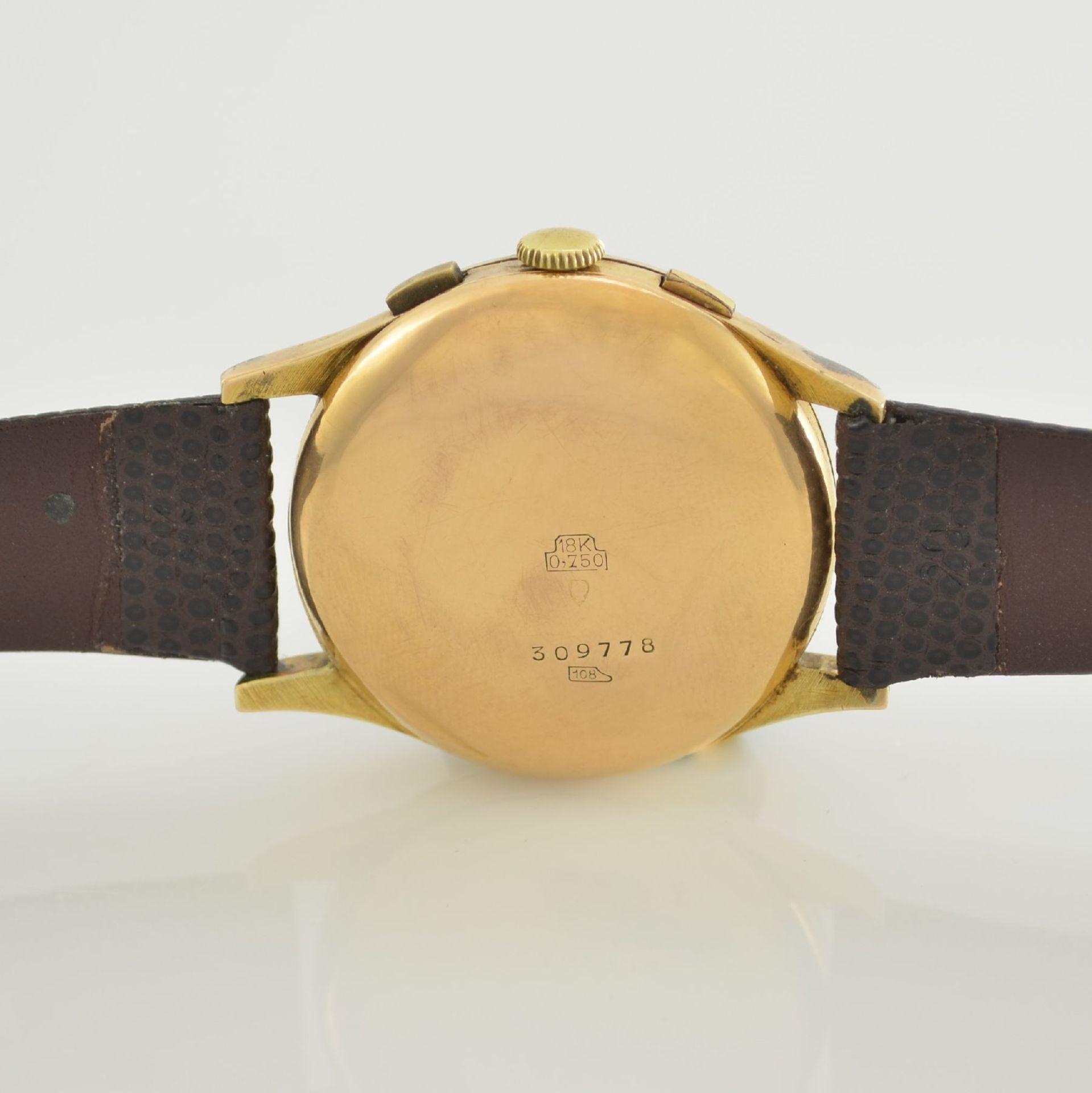 JOLUS Armbandchronograph in RoseG 750/000, Handaufzug, Schweiz um 1948, Boden & verg. Glasrand - Bild 7 aus 8