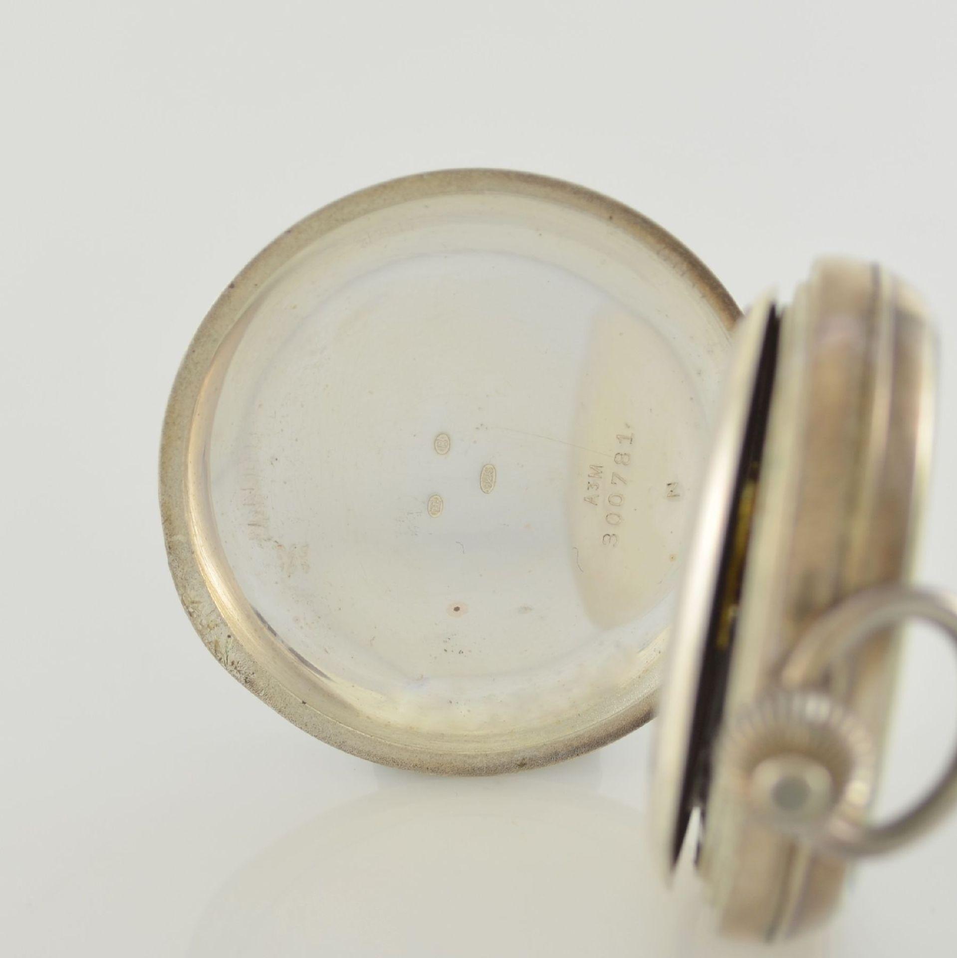 Offene Herrentaschenuhr mit Chronograph in Sterlingsilber, Schweiz um 1910, guill. Geh., aufgedr. - Bild 3 aus 7