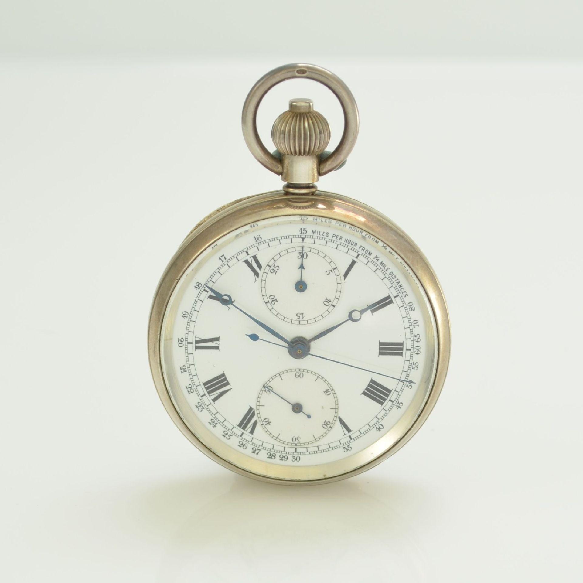 Offene Herrentaschenuhr mit Chronograph in Sterlingsilber, Schweiz um 1910, guill. Geh., aufgedr.