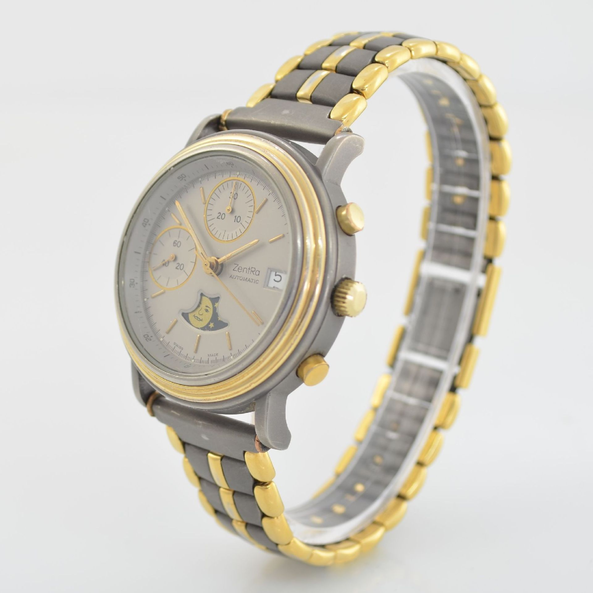 ZENTRA Herrenarmbanduhr Armbandchronograph, Automatik, Schweiz um 1987, Titangeh. inkl. - Bild 3 aus 6