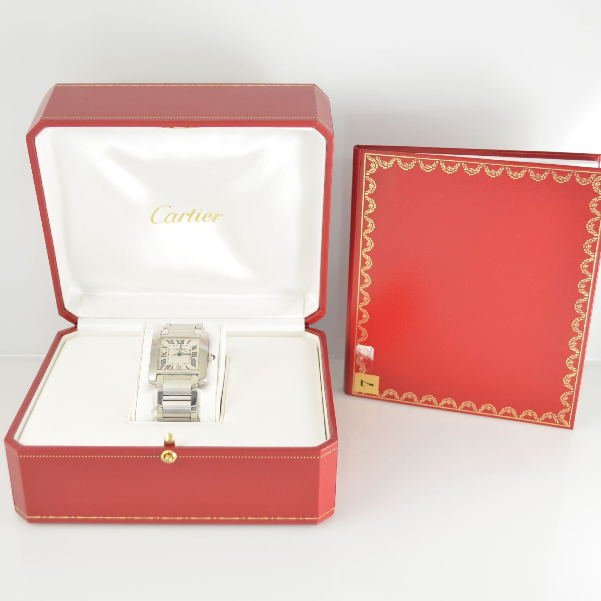 CARTIER Armbanduhr Tank Francaise, Automatik, Ref. 2302, Edelstahlgeh. inkl. Gliederband m. dopp. - Bild 8 aus 8