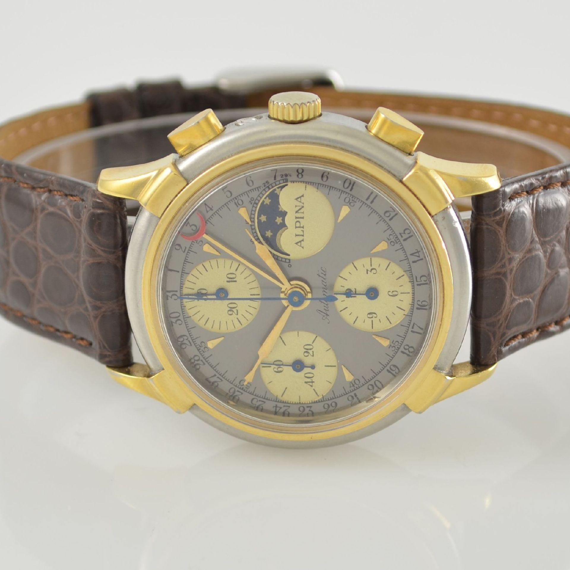 ALPINA Armbandchronograph mit Mondphase & Datum, Schweiz um 1990, Gehäuse in Edelstahl/Gold, Boden - Bild 2 aus 7