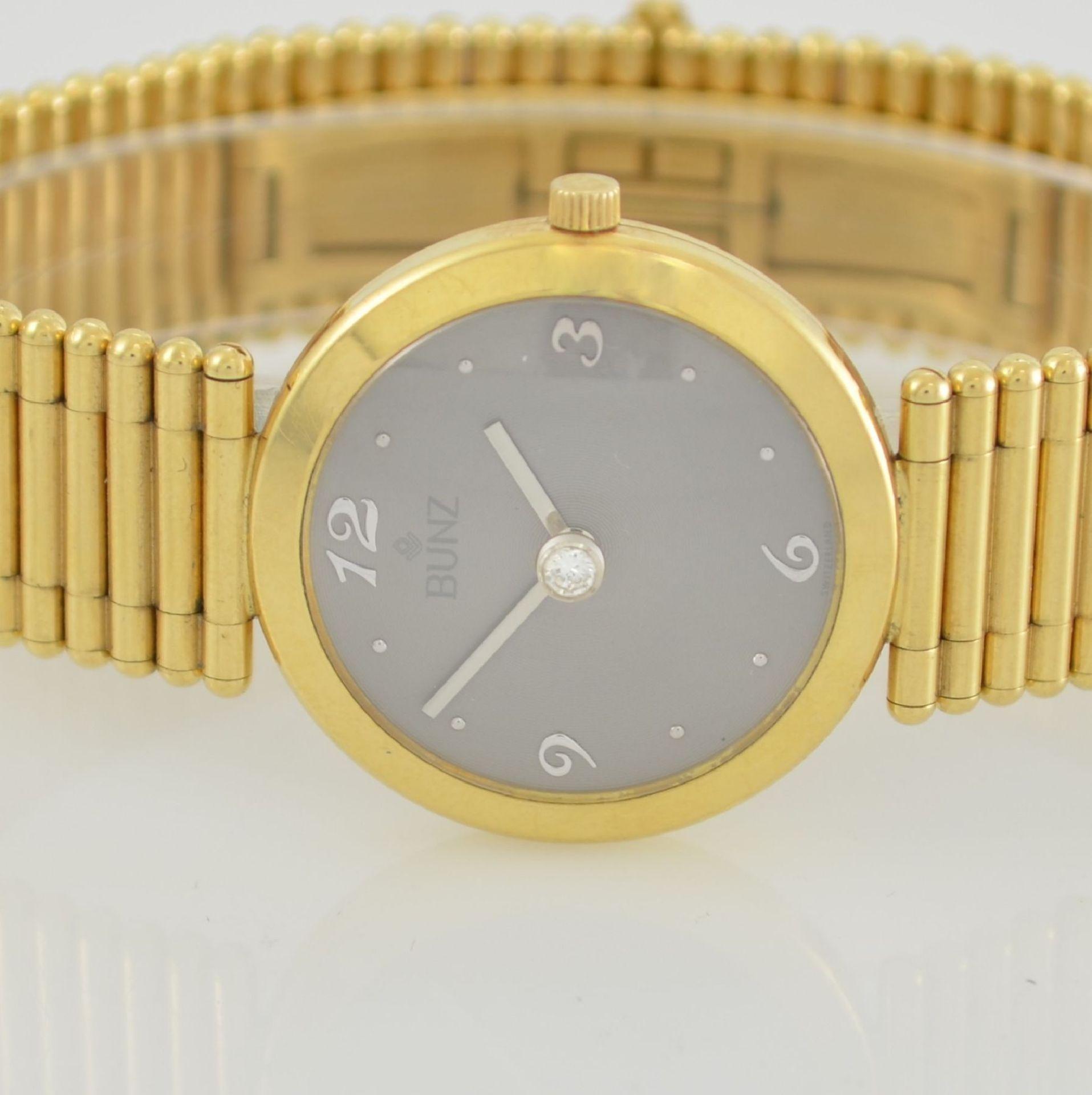 """BUNZ Damenarmbanduhr """"Diamondwatch"""" in GG 750/000, 5-fach verschr. Geh. mit integr. GG 750/000 - Bild 2 aus 9"""