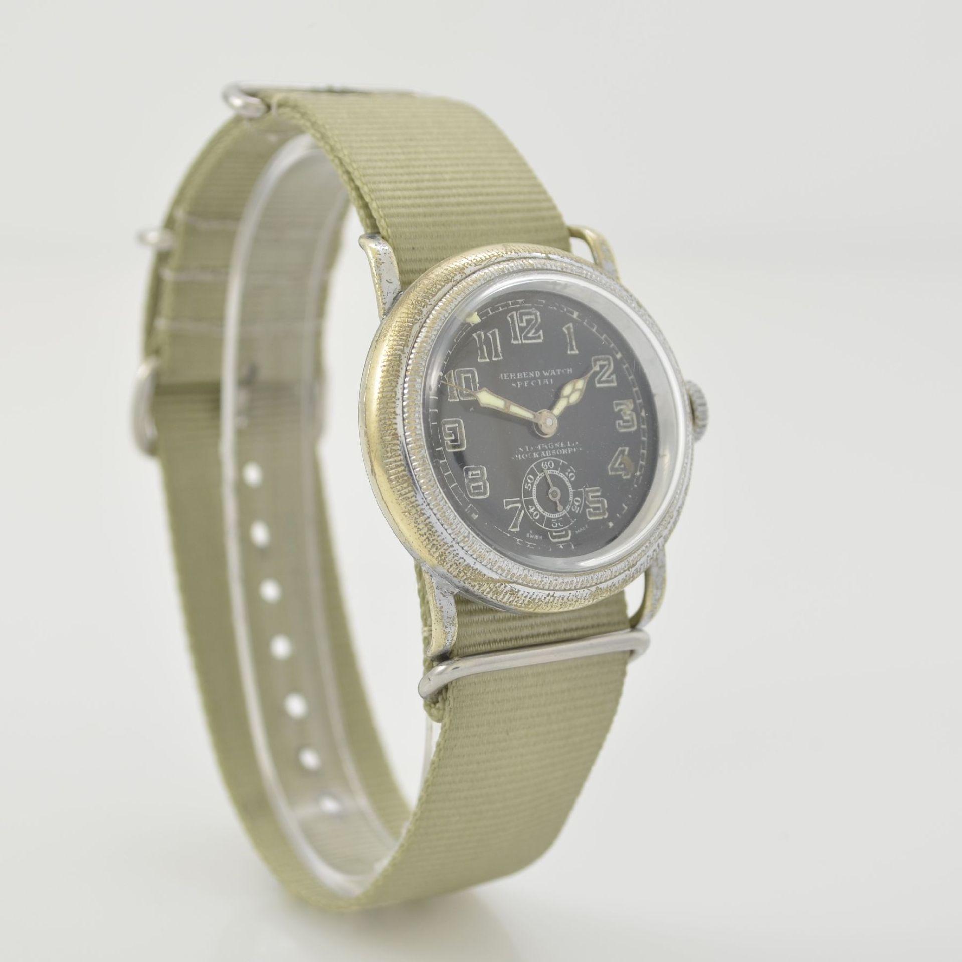 MERBEND WATCH Spezial Antimagnetic Schockabsorber Armbanduhr im Fliegerdesign, Schweiz um 1935, - Bild 4 aus 6