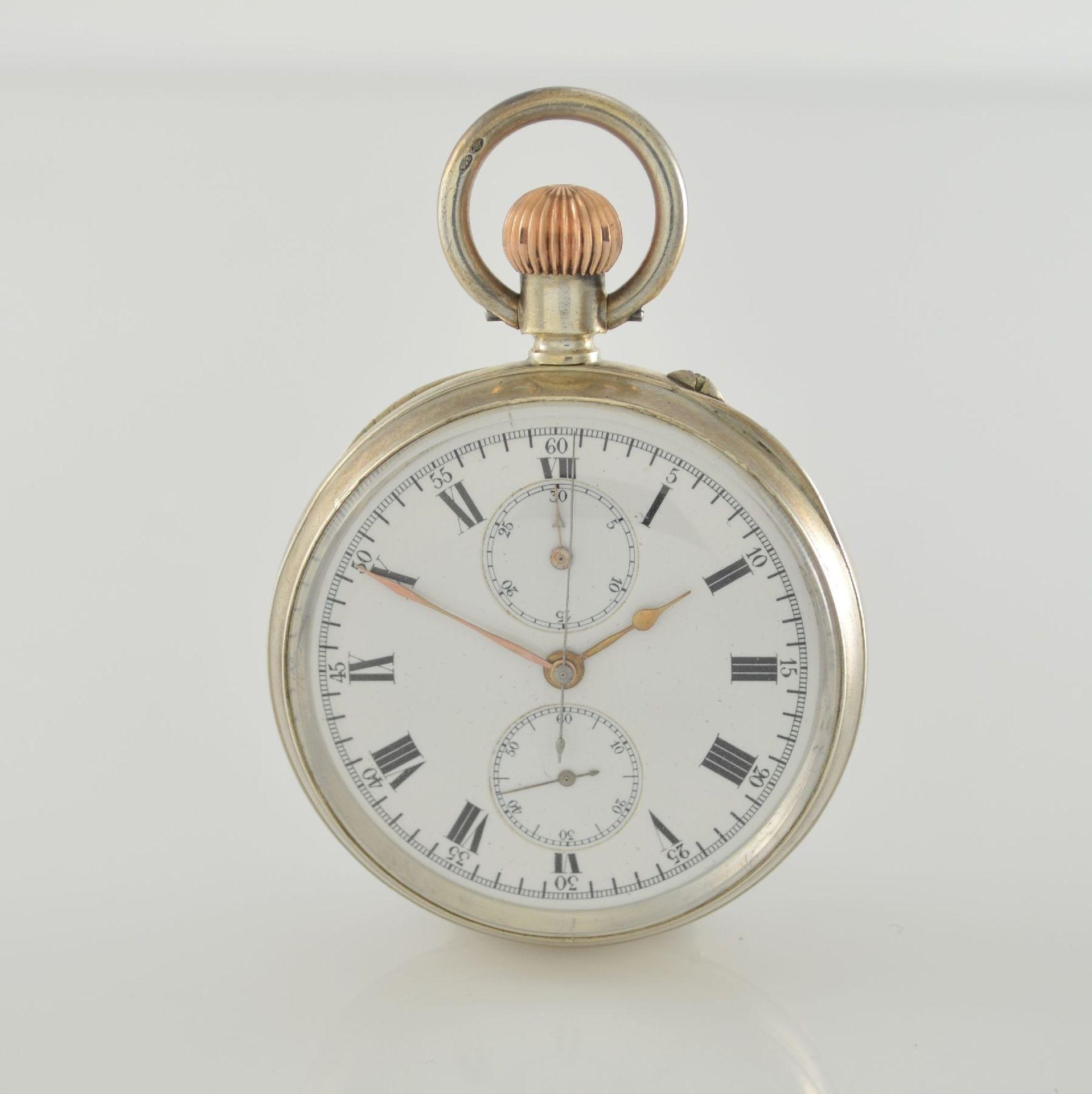 LONGINES offene Silbertaschenuhr mit Chronograph, Schweiz lt. Hallmark 1913, glattes Geh. m.