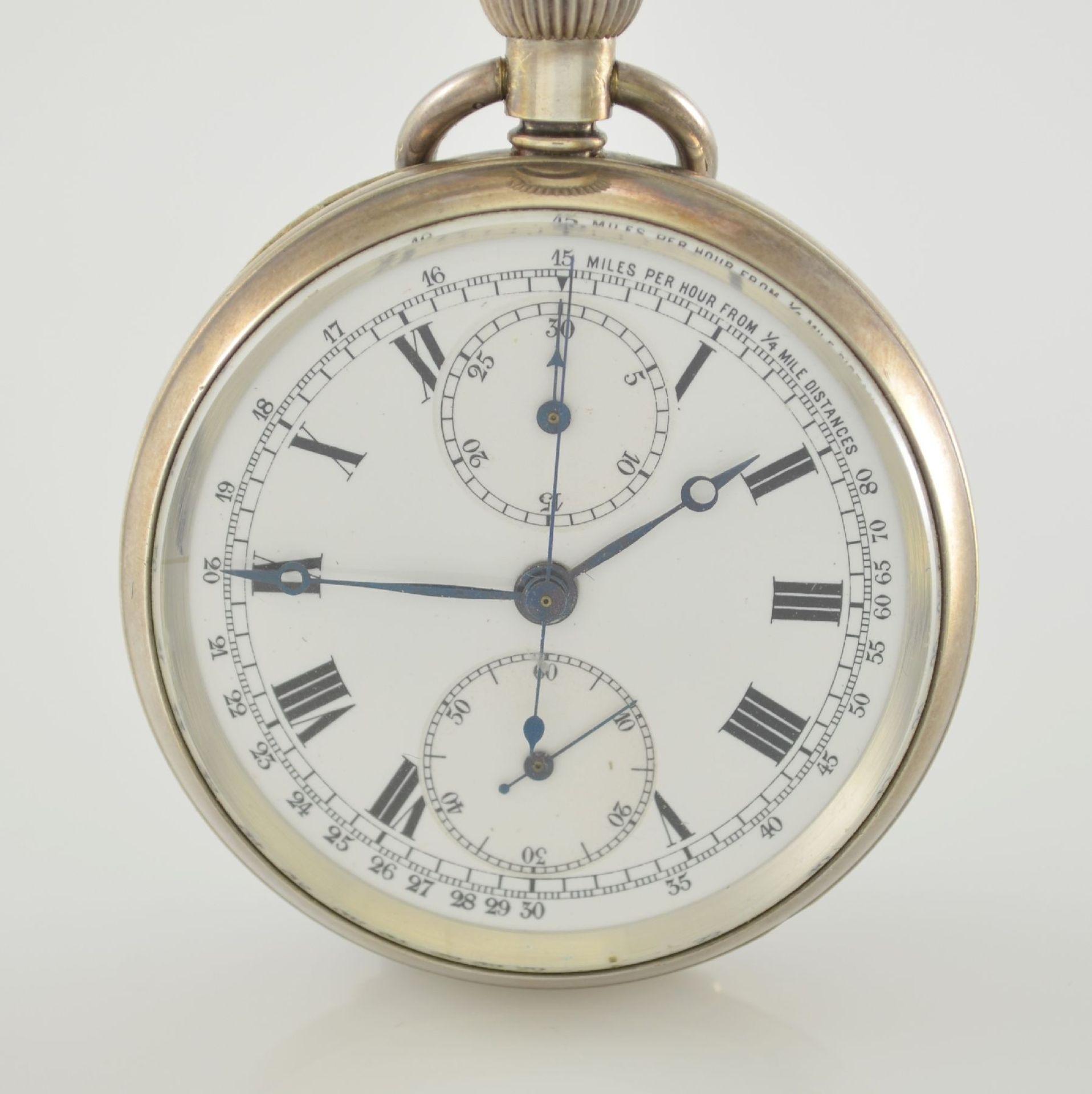 Offene Herrentaschenuhr mit Chronograph in Sterlingsilber, Schweiz um 1910, guill. Geh., aufgedr. - Bild 2 aus 7