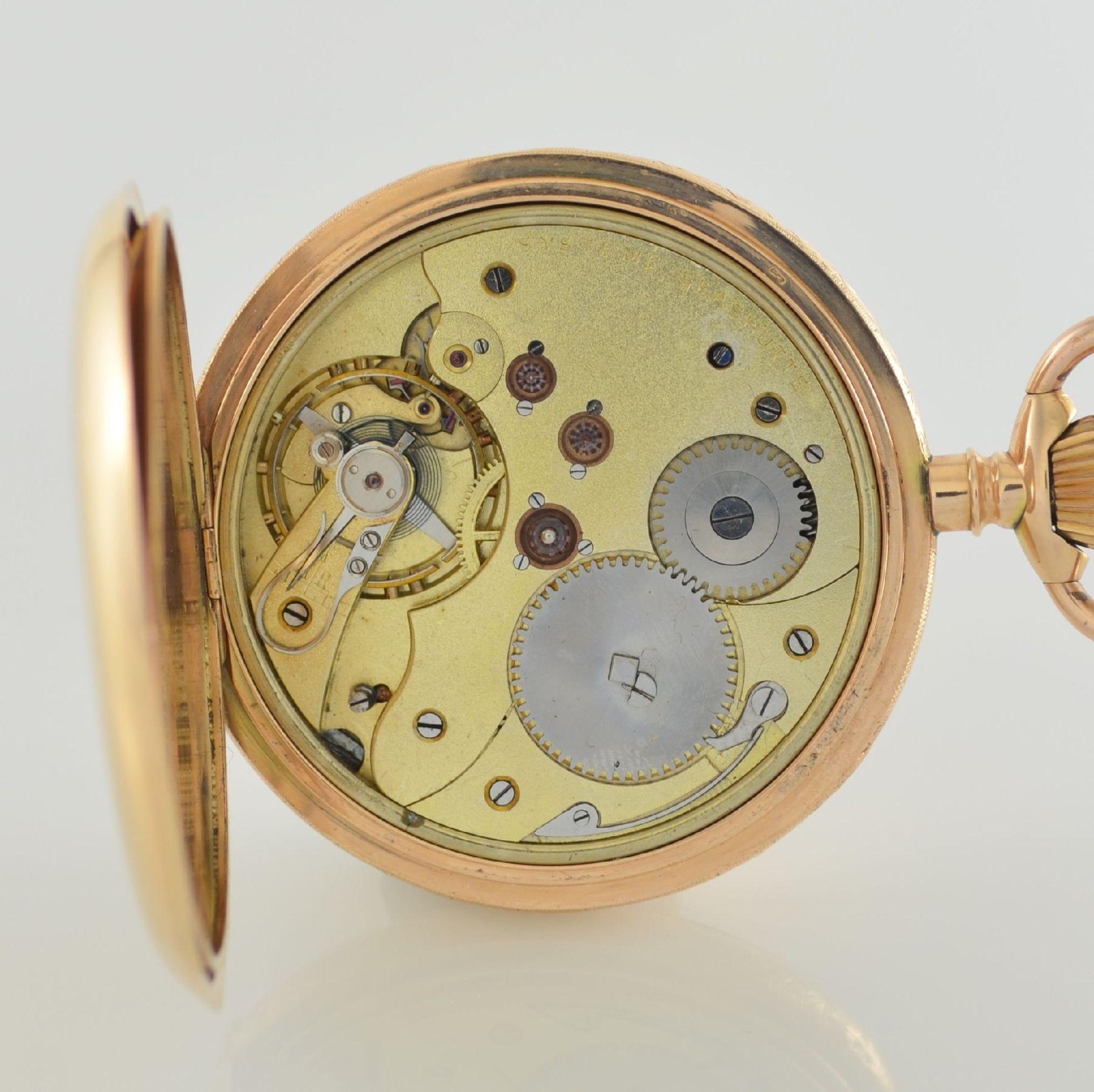 SYSTÉME GLASHÜTTE Herrensavonette in RG 585/000, Schweiz/Deutschland um 1900, glattes 3-Deckel - Bild 8 aus 8