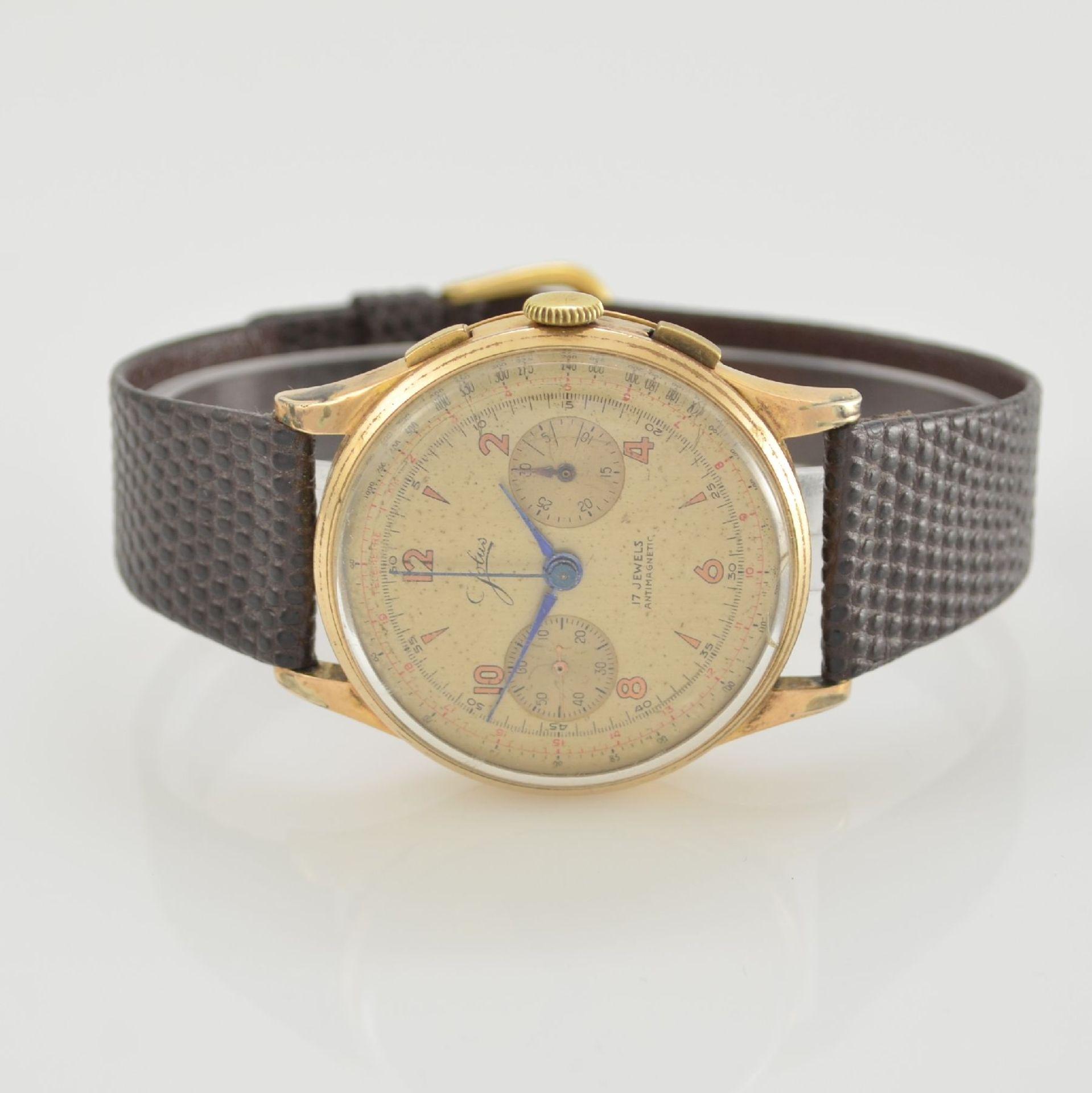JOLUS Armbandchronograph in RoseG 750/000, Handaufzug, Schweiz um 1948, Boden & verg. Glasrand
