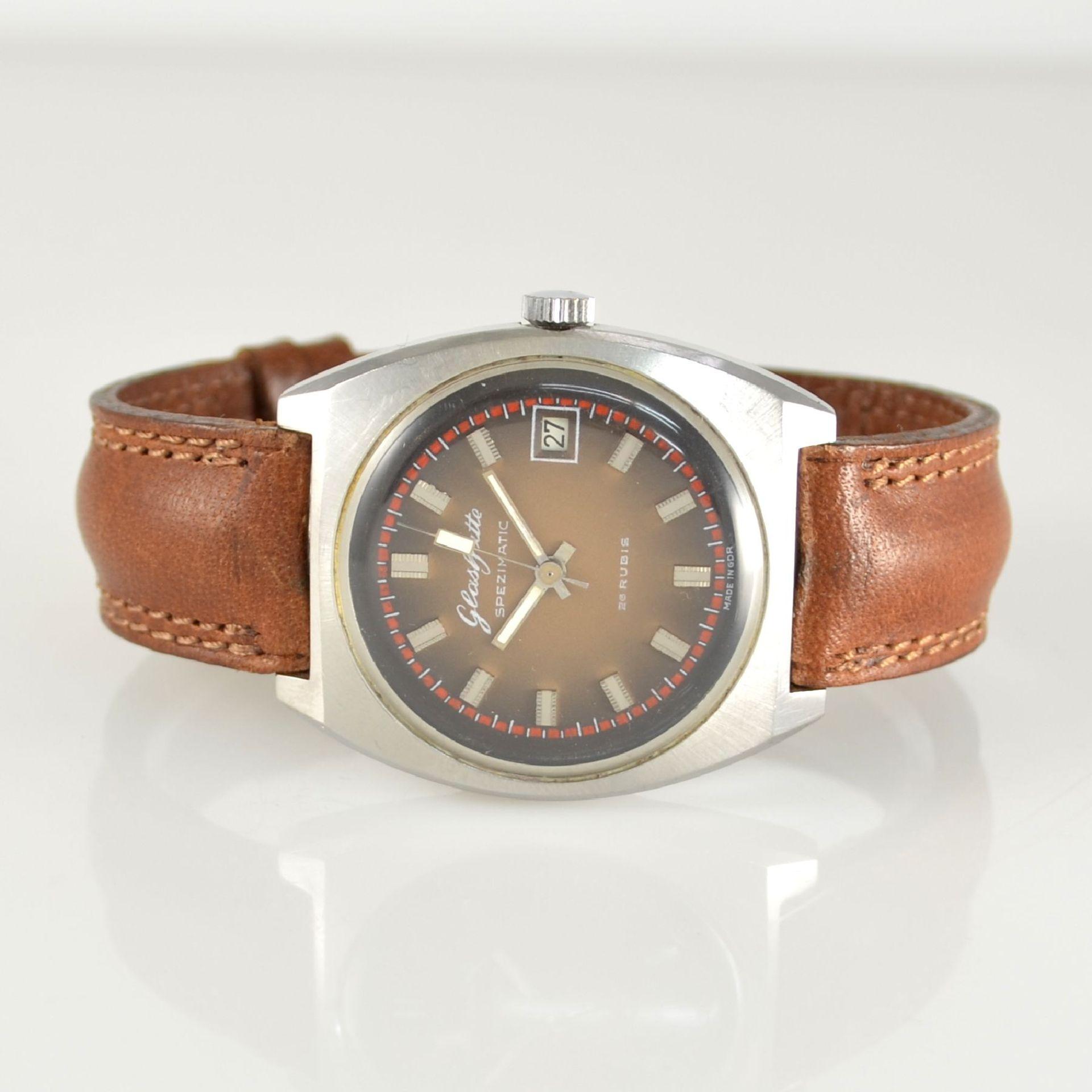 GLASHÜTTE Armbanduhr Spezimatic in Edelstahl, Automatik, DDR um 1970, Boden aufgedr., ausgef.