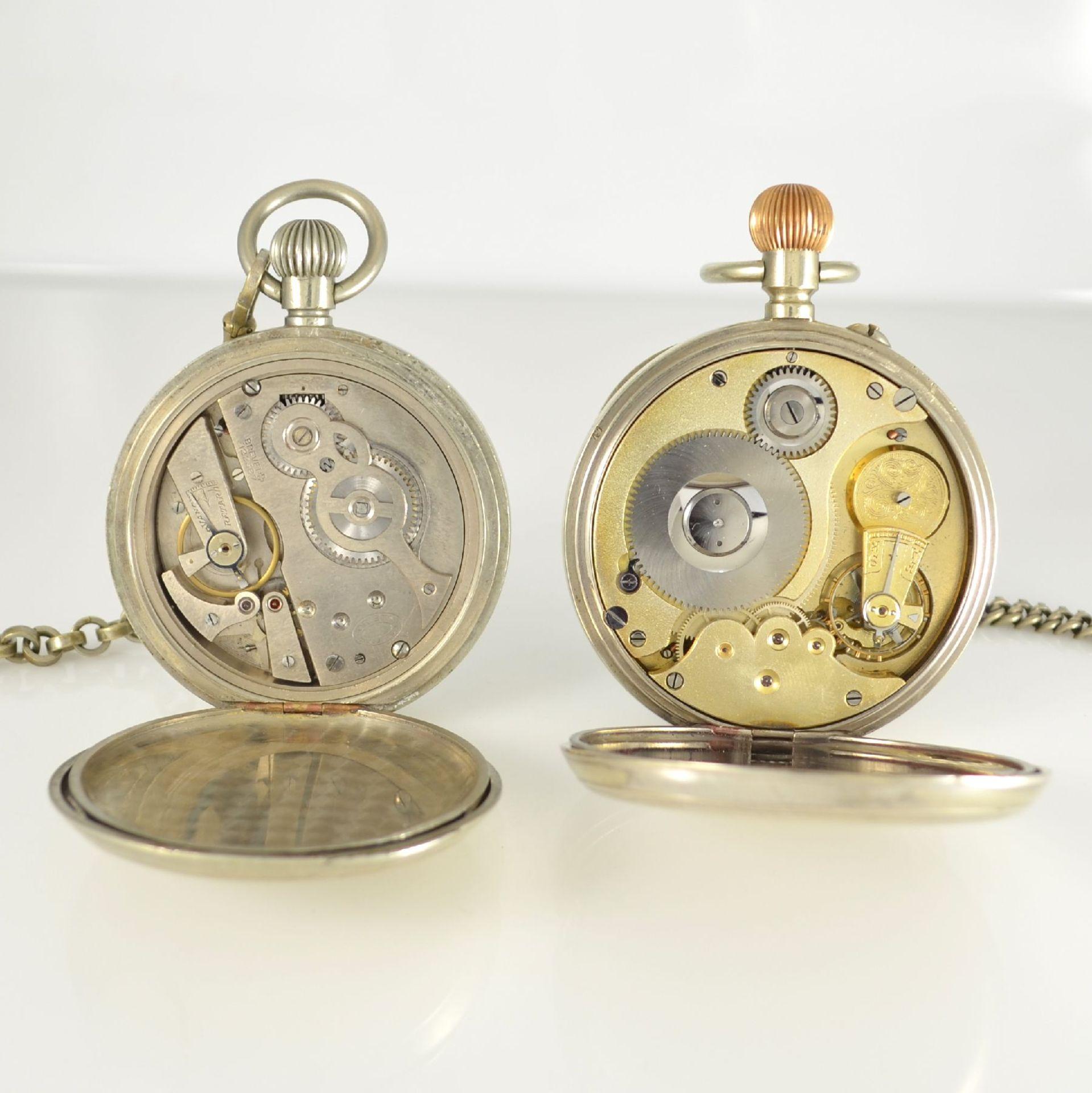 Konvolut: 2 große Herrentaschenuhren, Schweiz um 1900, beide Nickelgehäuse, mit Emailzifferbl. & - Bild 5 aus 5