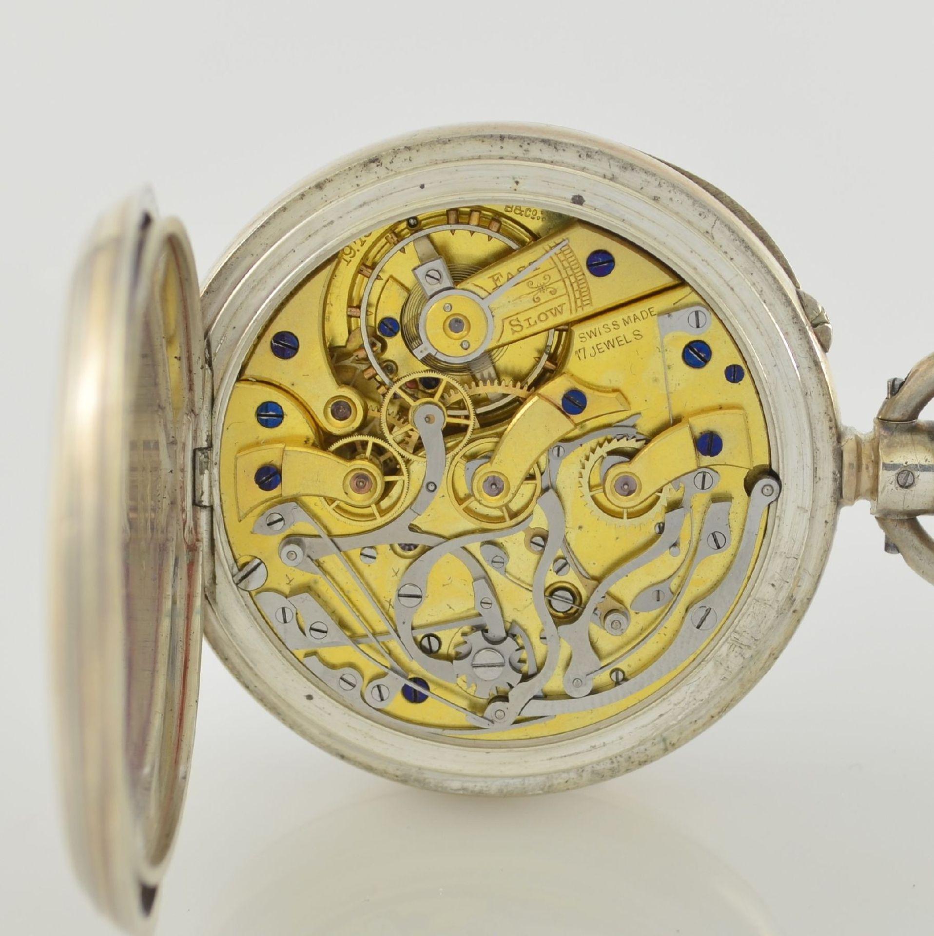 LONGINES offene Silbertaschenuhr mit Chronograph, Schweiz lt. Hallmark 1913, glattes Geh. m. - Bild 6 aus 7
