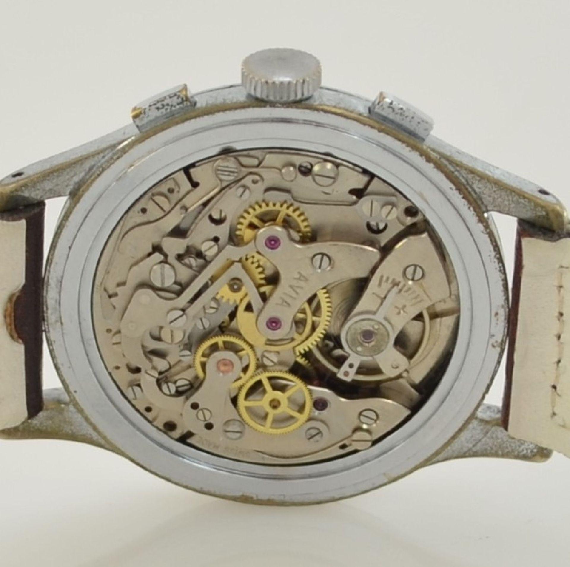 AVIA Armbandchronograph, Handaufzug, Schweiz für den dtsch. Markt um 1940, verchr. Metallgeh. - Bild 9 aus 10