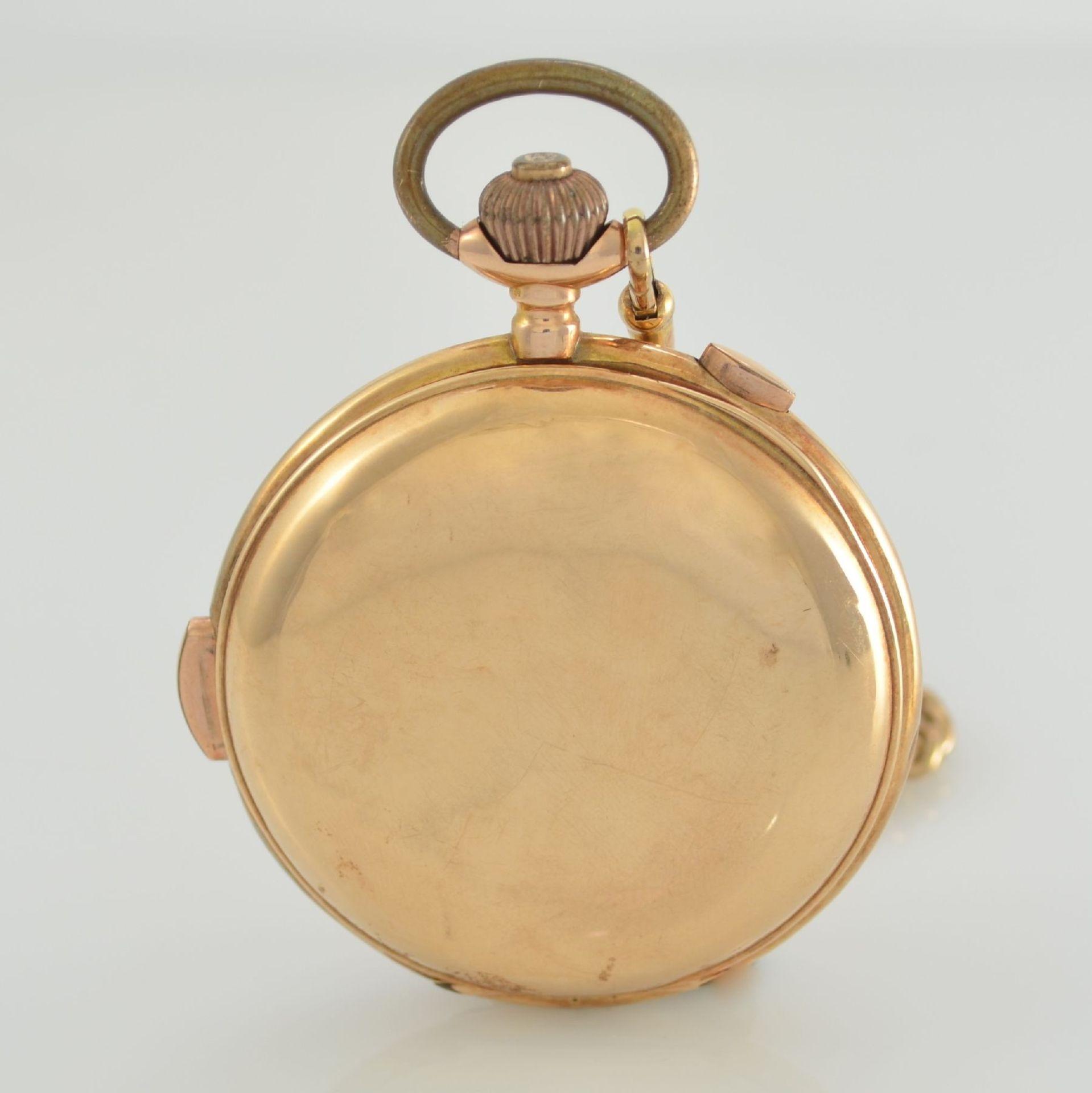 Savonette Herrentaschenuhr in RoseG 585/000 mit 1/4 Stunden Repetition und Chronograph, Schweiz um - Bild 9 aus 9