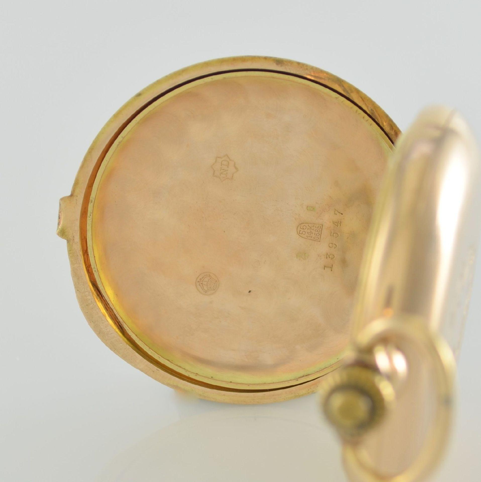 Herrensavonette in RG 585/000, Schweiz um 1900, guill. 3-Deckel-Goldgeh. dell. m. à- goutte- - Bild 6 aus 7