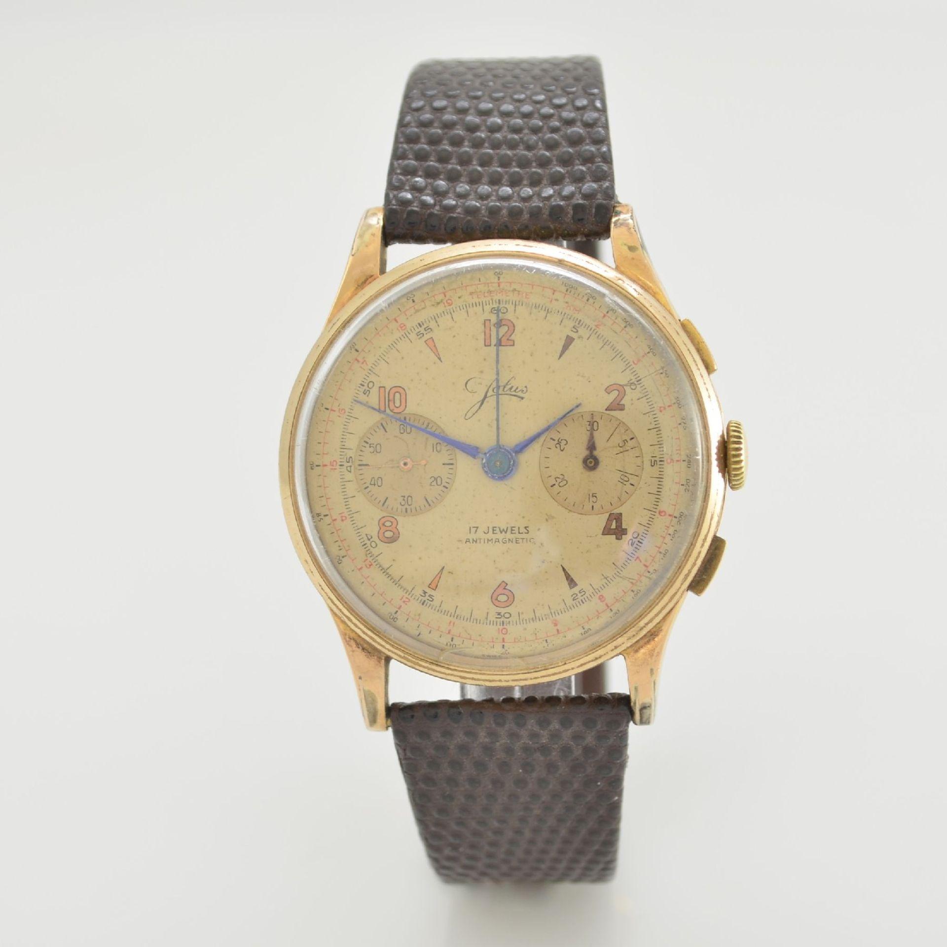 JOLUS Armbandchronograph in RoseG 750/000, Handaufzug, Schweiz um 1948, Boden & verg. Glasrand - Bild 4 aus 8