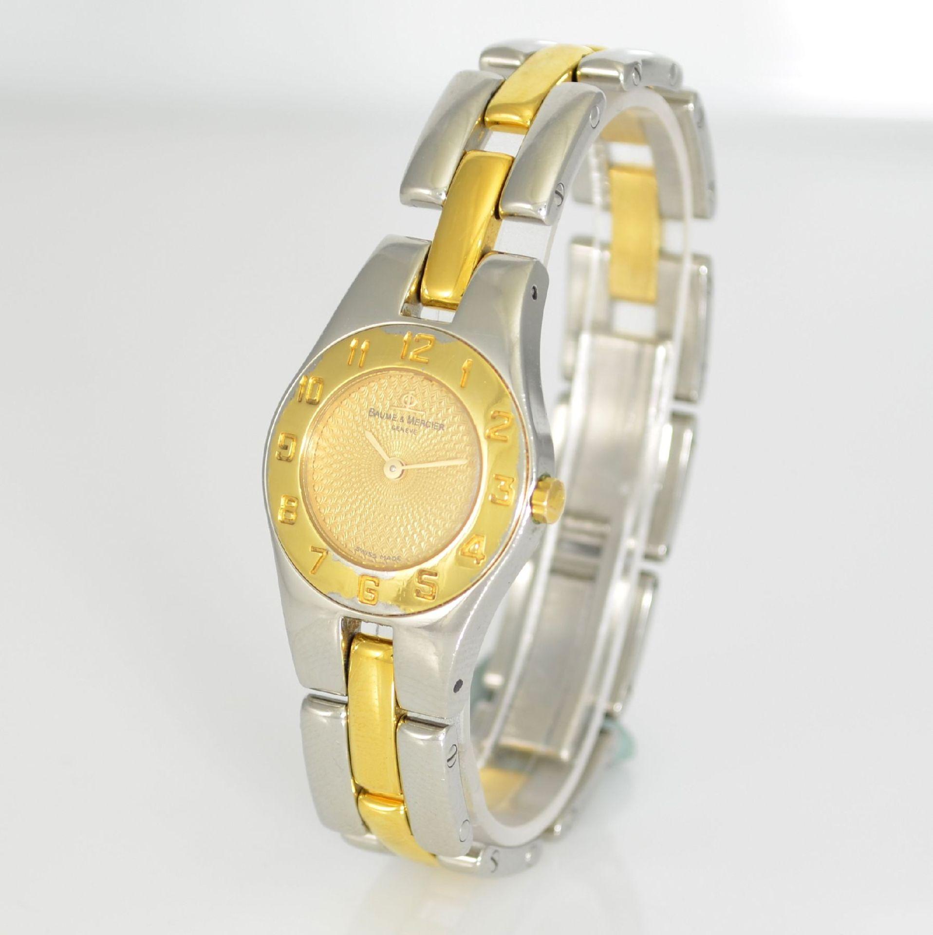 BAUME & MERCIER Damenarmbanduhr in Stahl/ vergoldet, Schweiz um 2000, gedr. Geh. m. integr. - Bild 3 aus 6