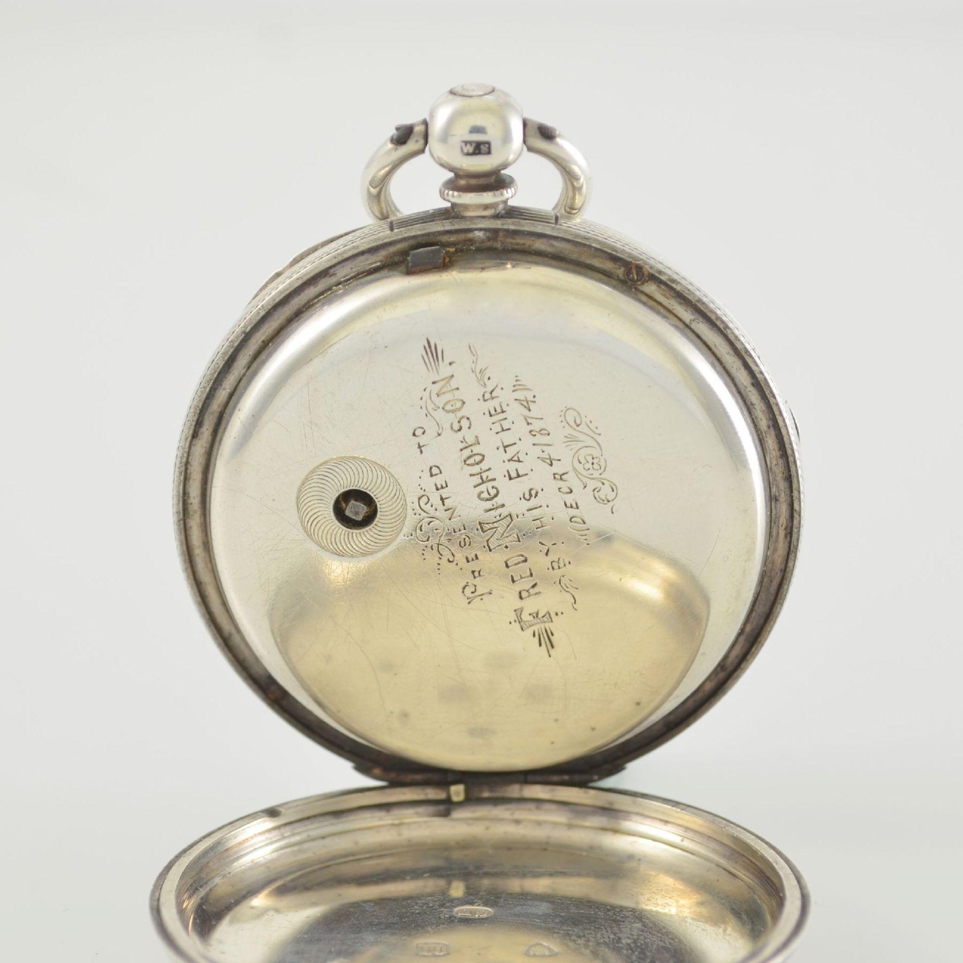 STORY & SEDMAN englische Taschenuhr in Silber, um 1870, 3-teil. Gehäuse innen m. Widmung, - Bild 5 aus 8