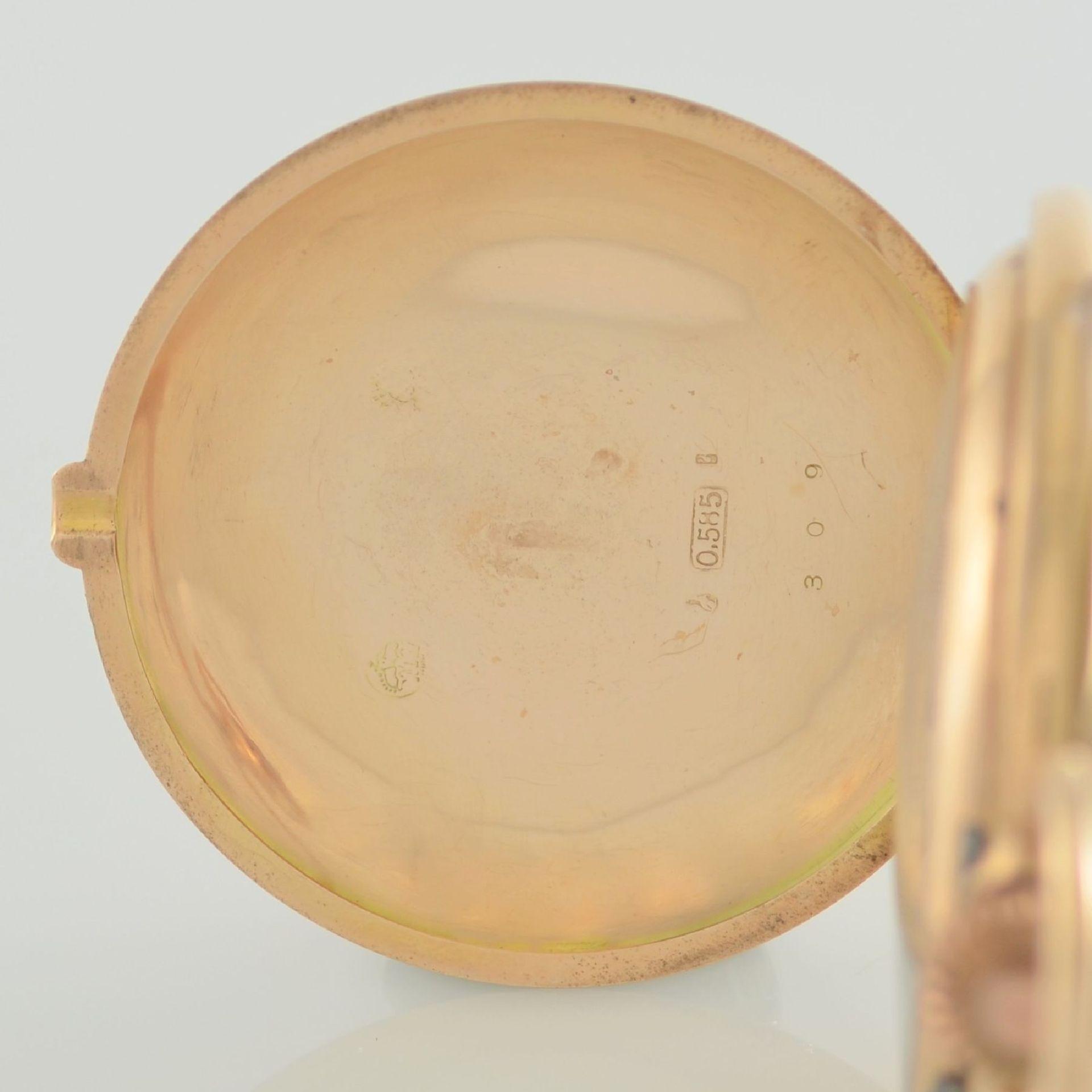 Herrensavonette in RG 585/000, Schweiz um 1900, guill. 3-Deckel Goldgeh. berieben/dell., à-goutte- - Bild 3 aus 7