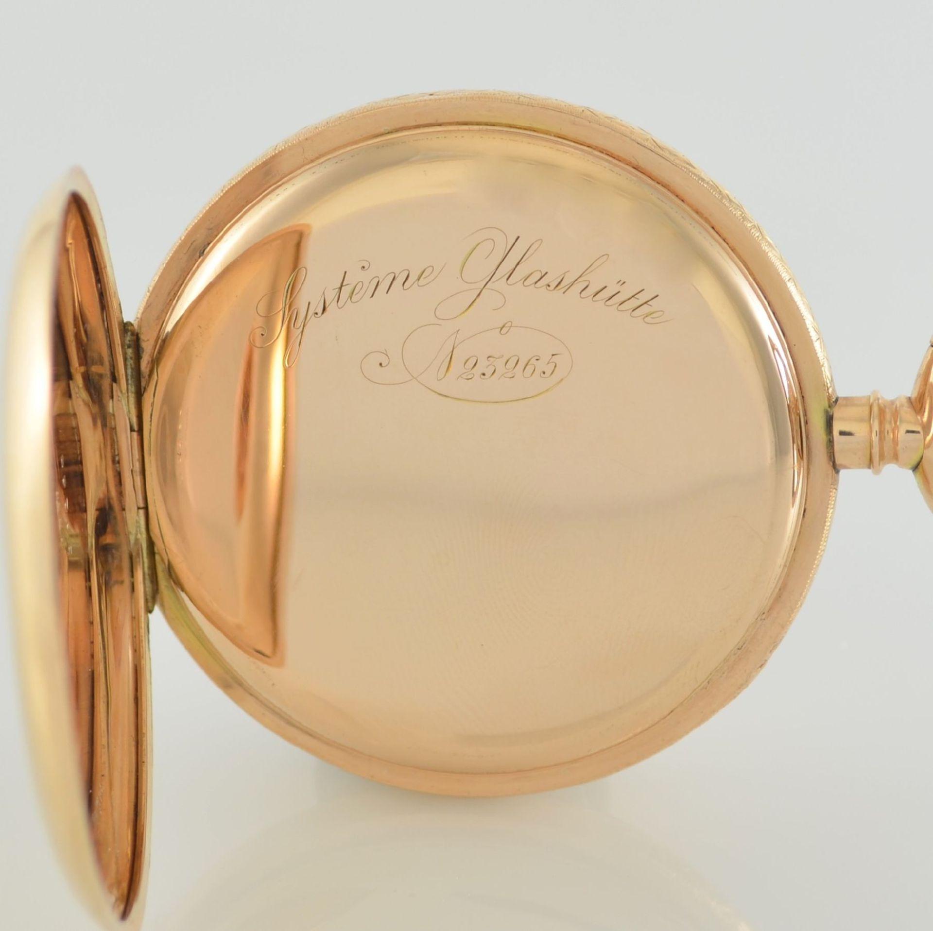 SYSTÉME GLASHÜTTE Herrensavonette in RG 585/000, Schweiz/Deutschland um 1900, glattes 3-Deckel - Bild 5 aus 8