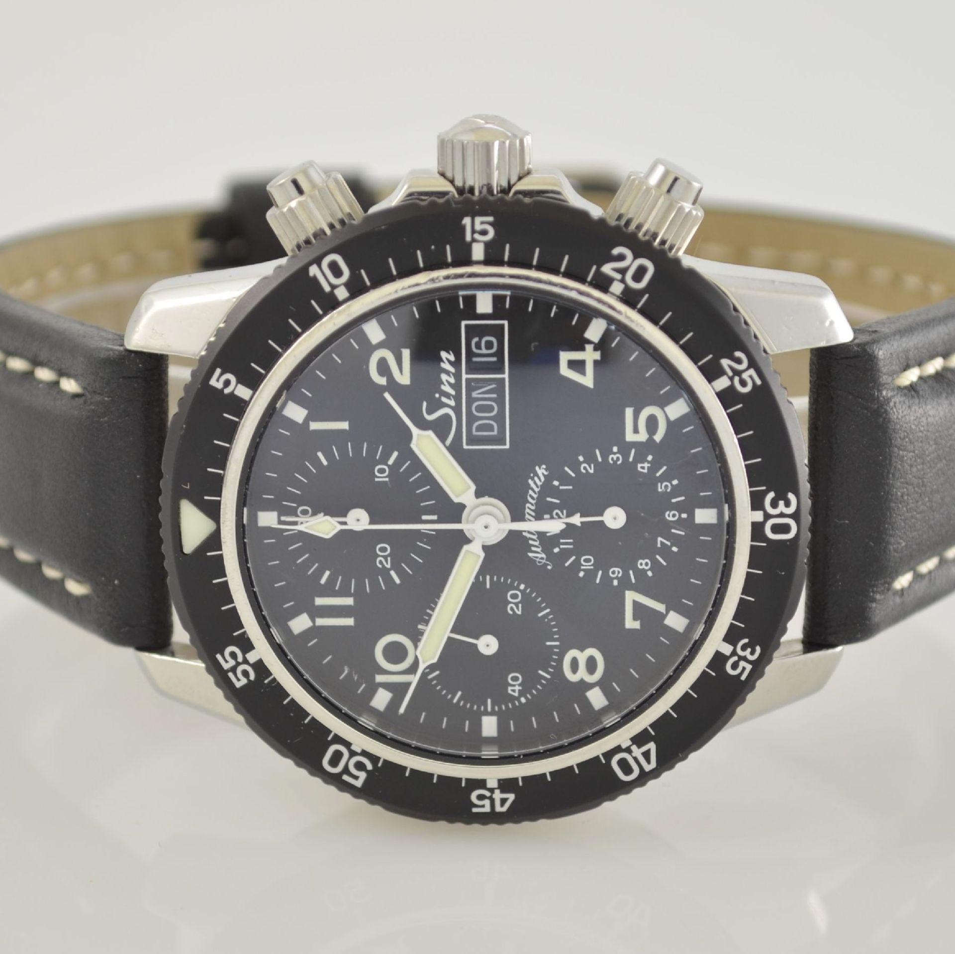 SINN Armbandchronograph, Automatik, Schweiz um 2010, pol. Edelstahlgeh. inkl. orig. Lederband m. - Bild 2 aus 6