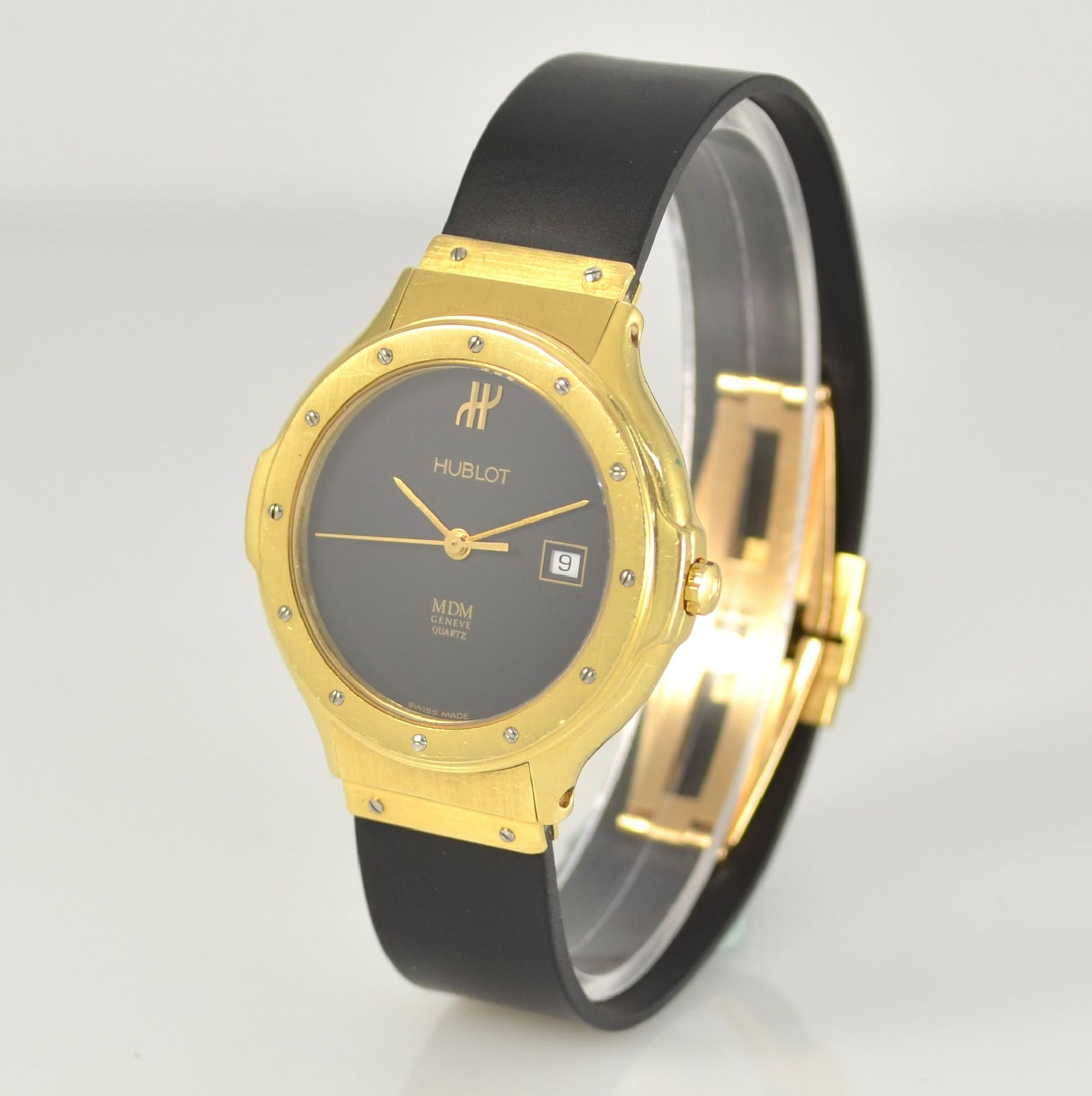 HUBLOT MDM Armbanduhr in GG 750/000, Schweiz um 1995, quarz, Ref. 140.10.3, massives Goldgeh., Boden - Bild 4 aus 7
