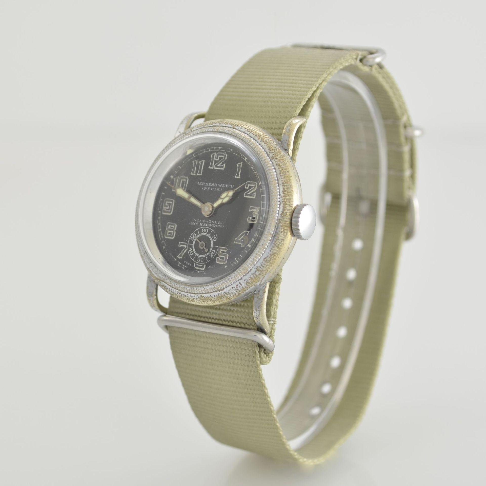 MERBEND WATCH Spezial Antimagnetic Schockabsorber Armbanduhr im Fliegerdesign, Schweiz um 1935, - Bild 3 aus 6